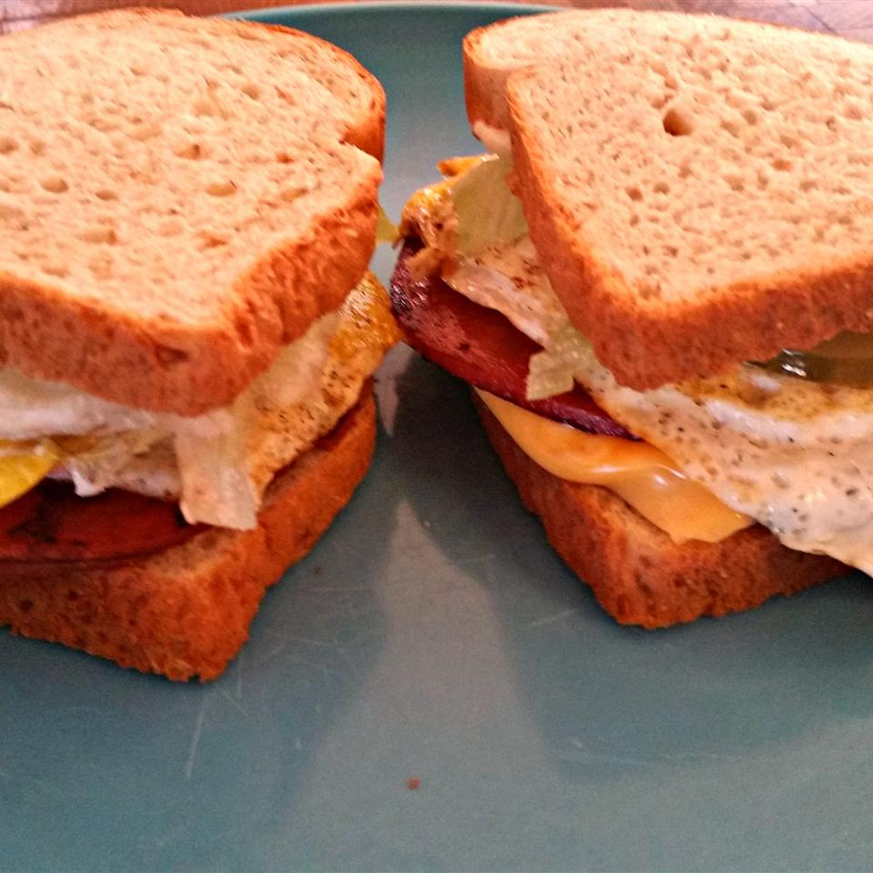 Kevin's Toasted Honey Wheat Berry Bologna and Egg Sandwich