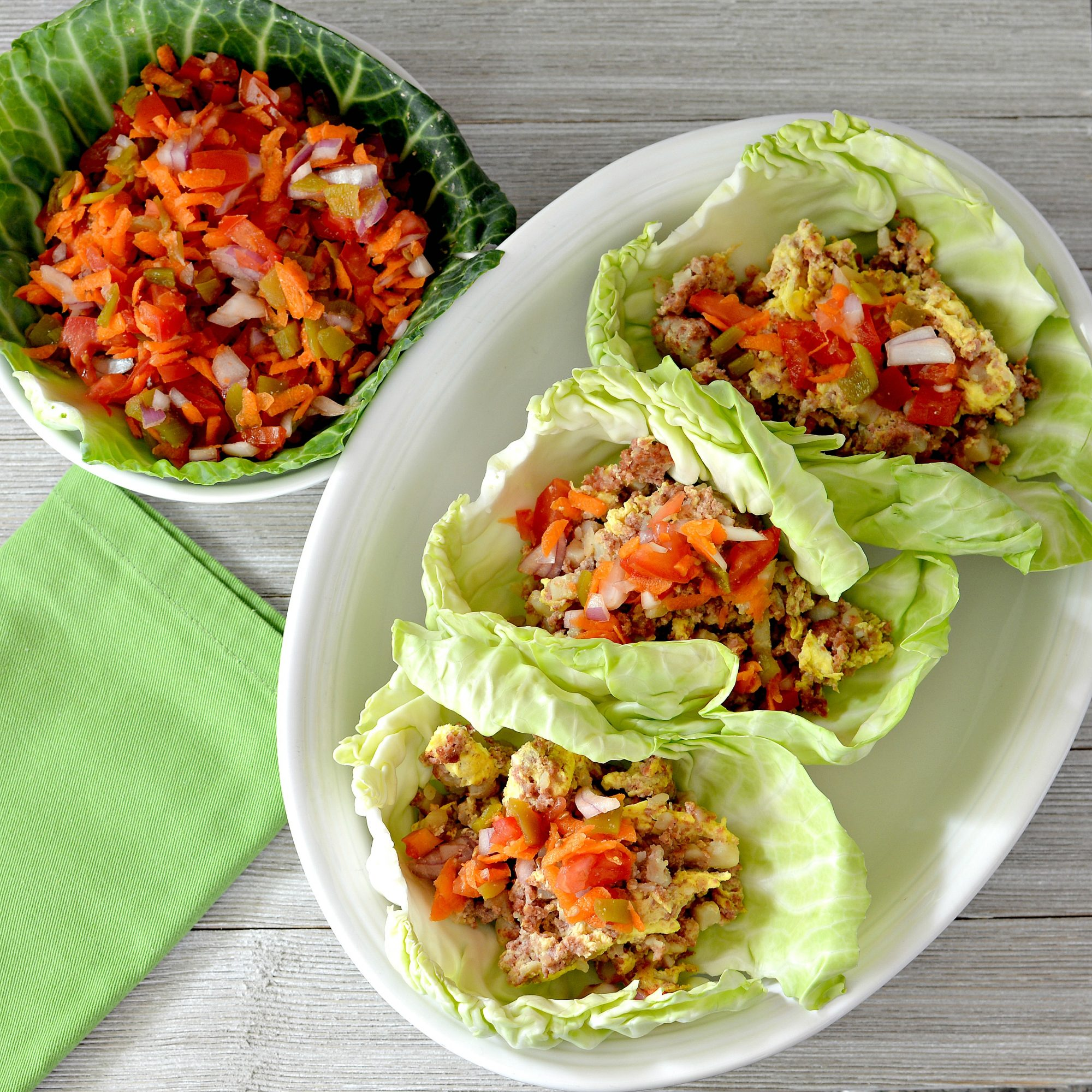Corned Beef and Cabbage Leaf Wraps with Carrot Salsa