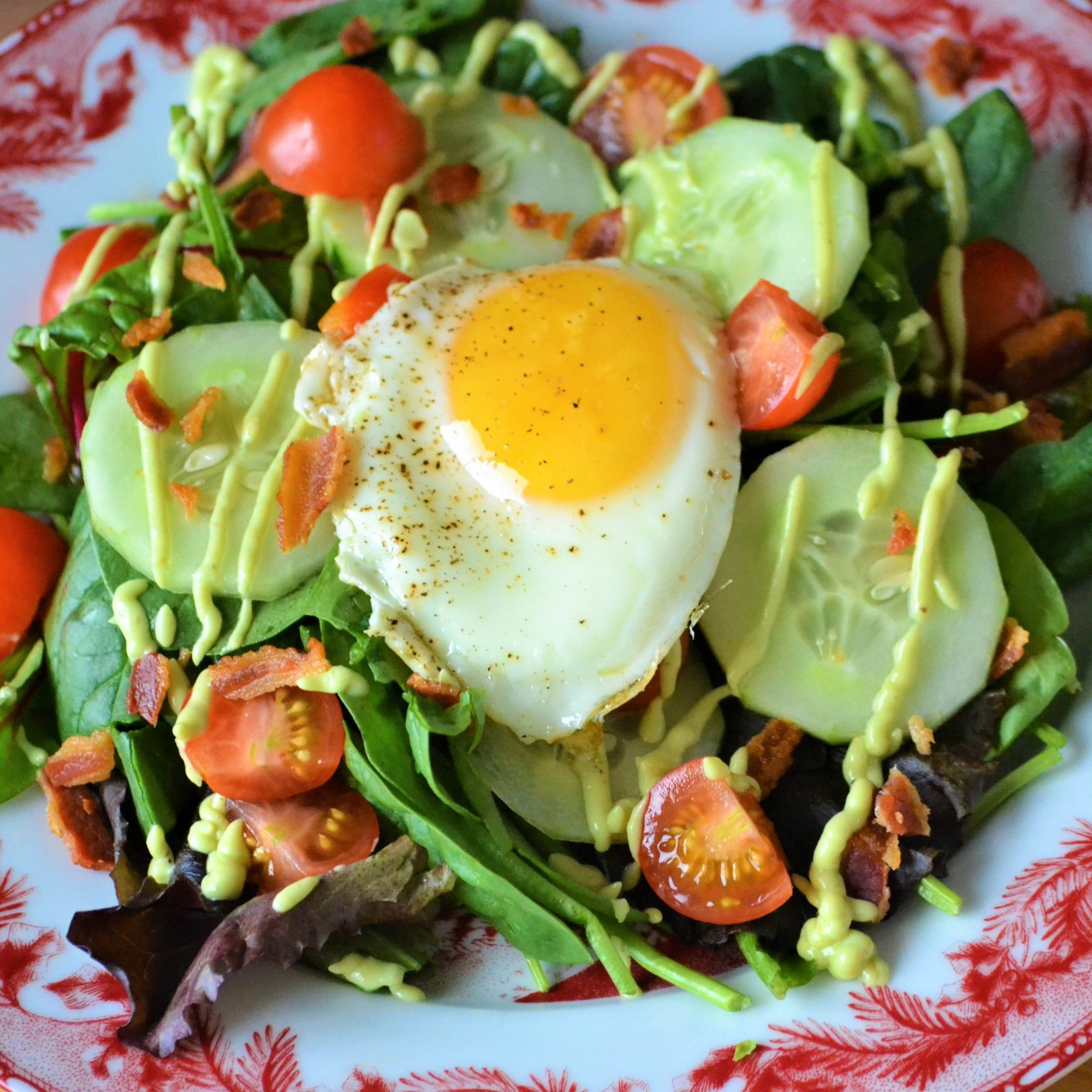 Bacon and Egg Breakfast Salad with Avocado Dressing