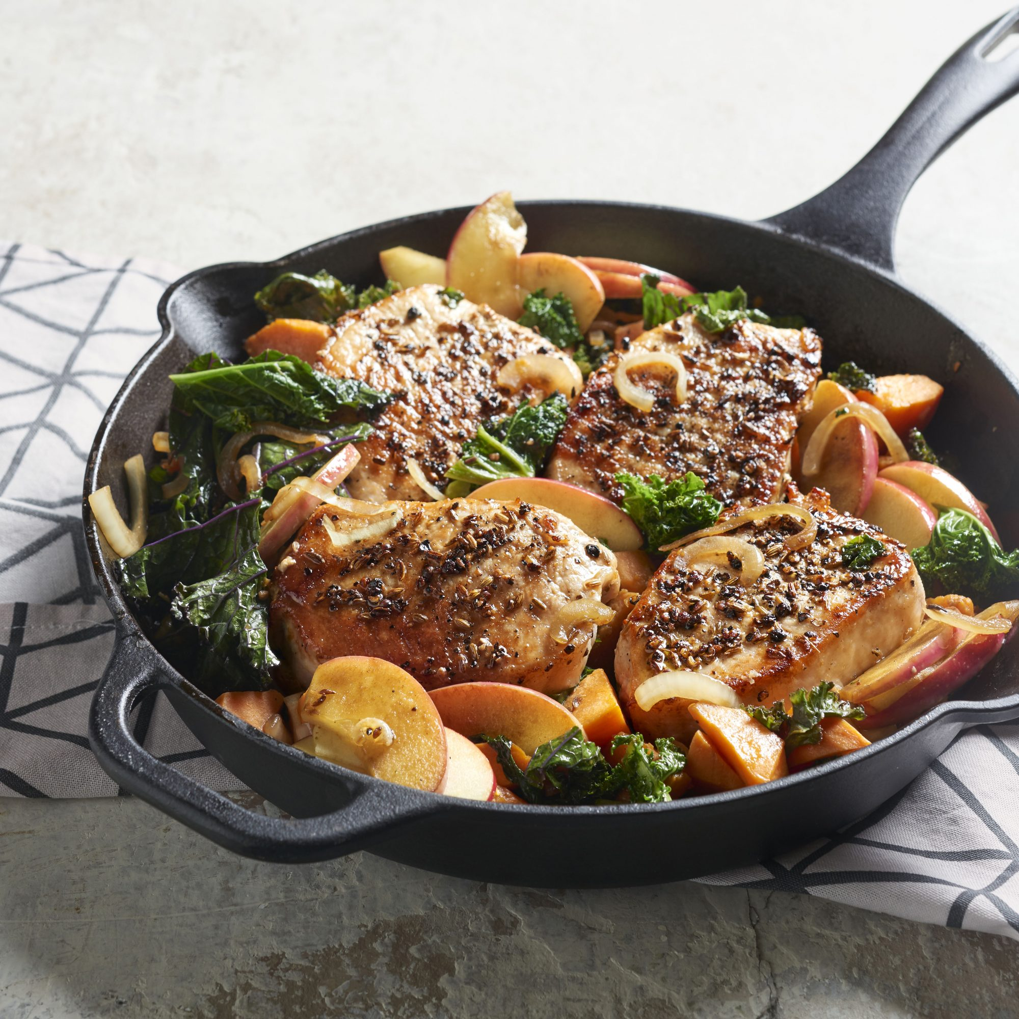 Fennel-Rubbed Pork Chops with Apple, Kale, and Sweet Potato