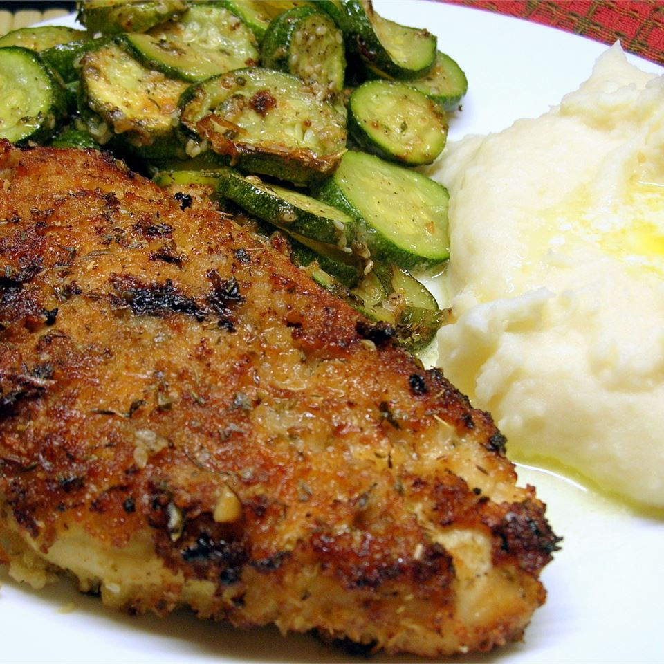 Garlic Chicken with zucchini and mashed potatoes