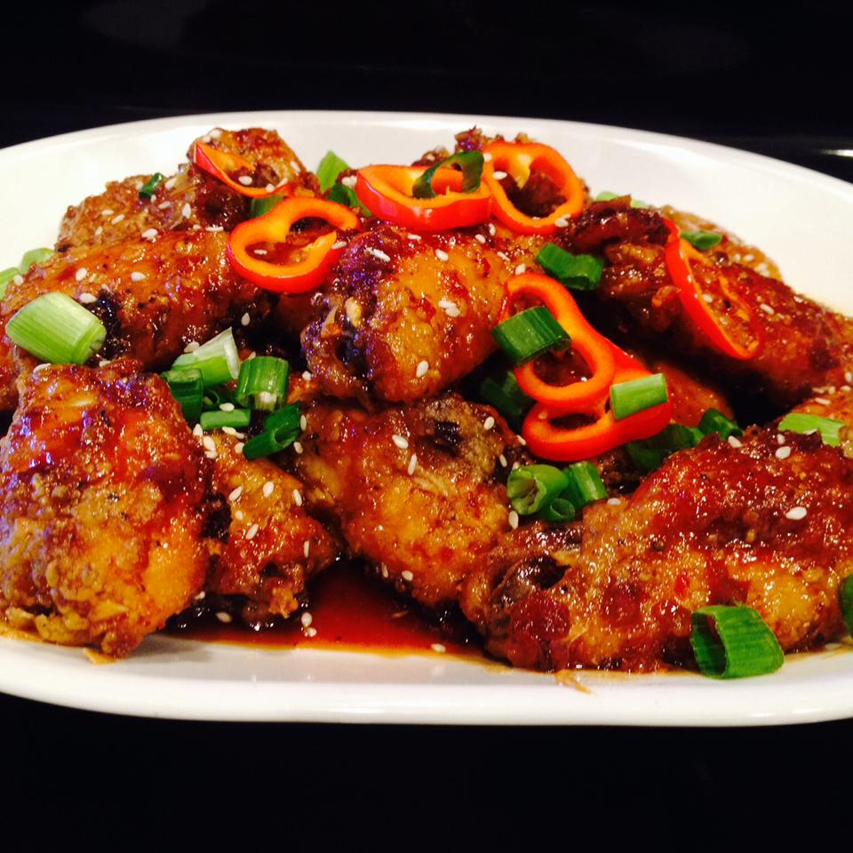 Garlic-Ginger Chicken Wings on white plate