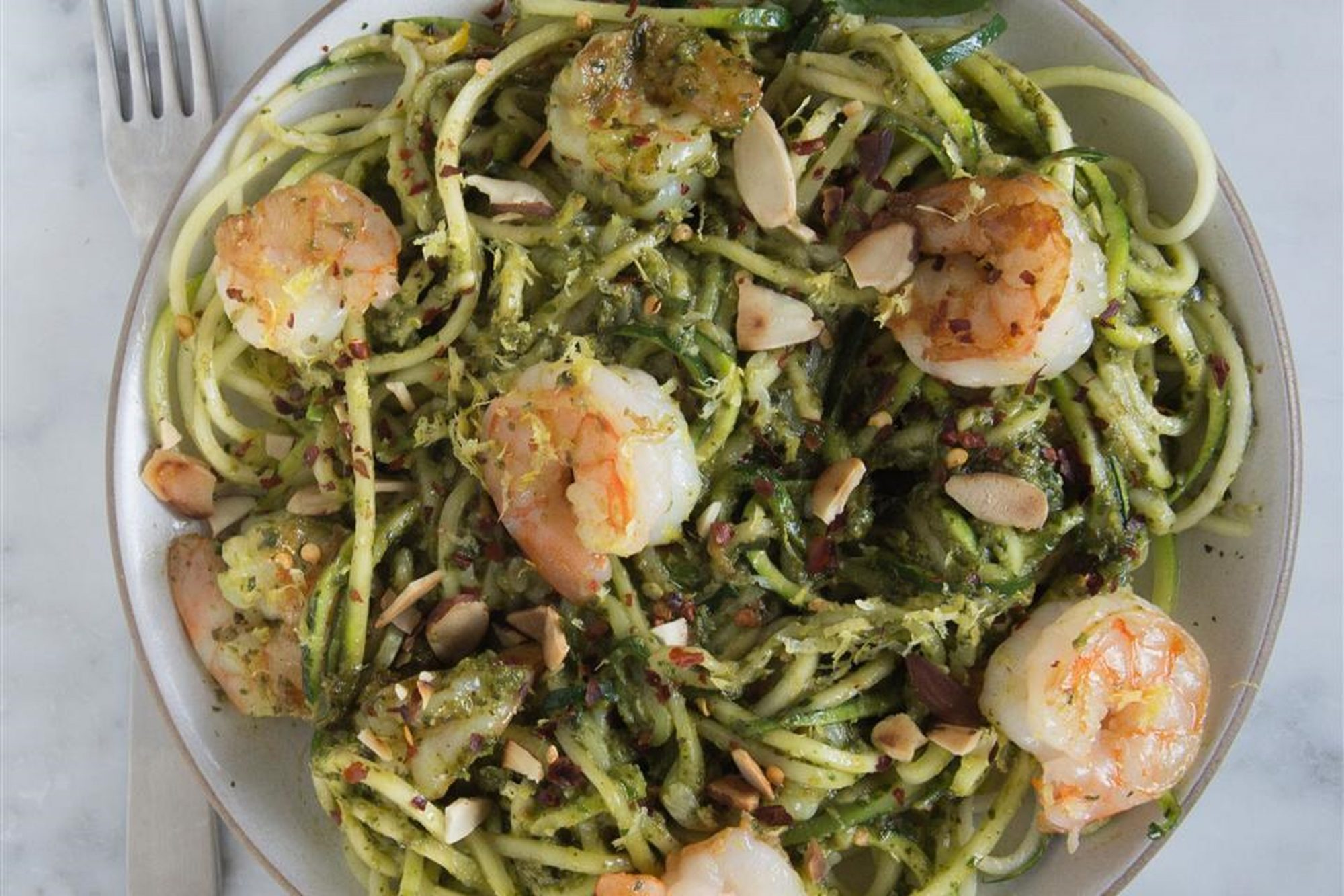 Grilled Shrimp over Zucchini Noodles in bowl