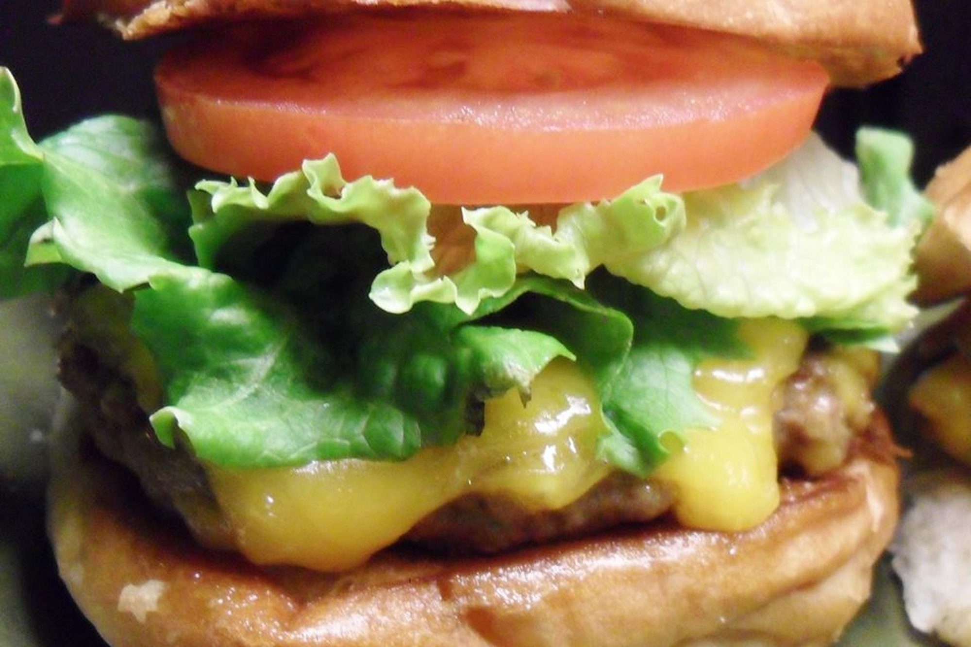 Close-up of hamburger with cheese, lettuce, and tomato