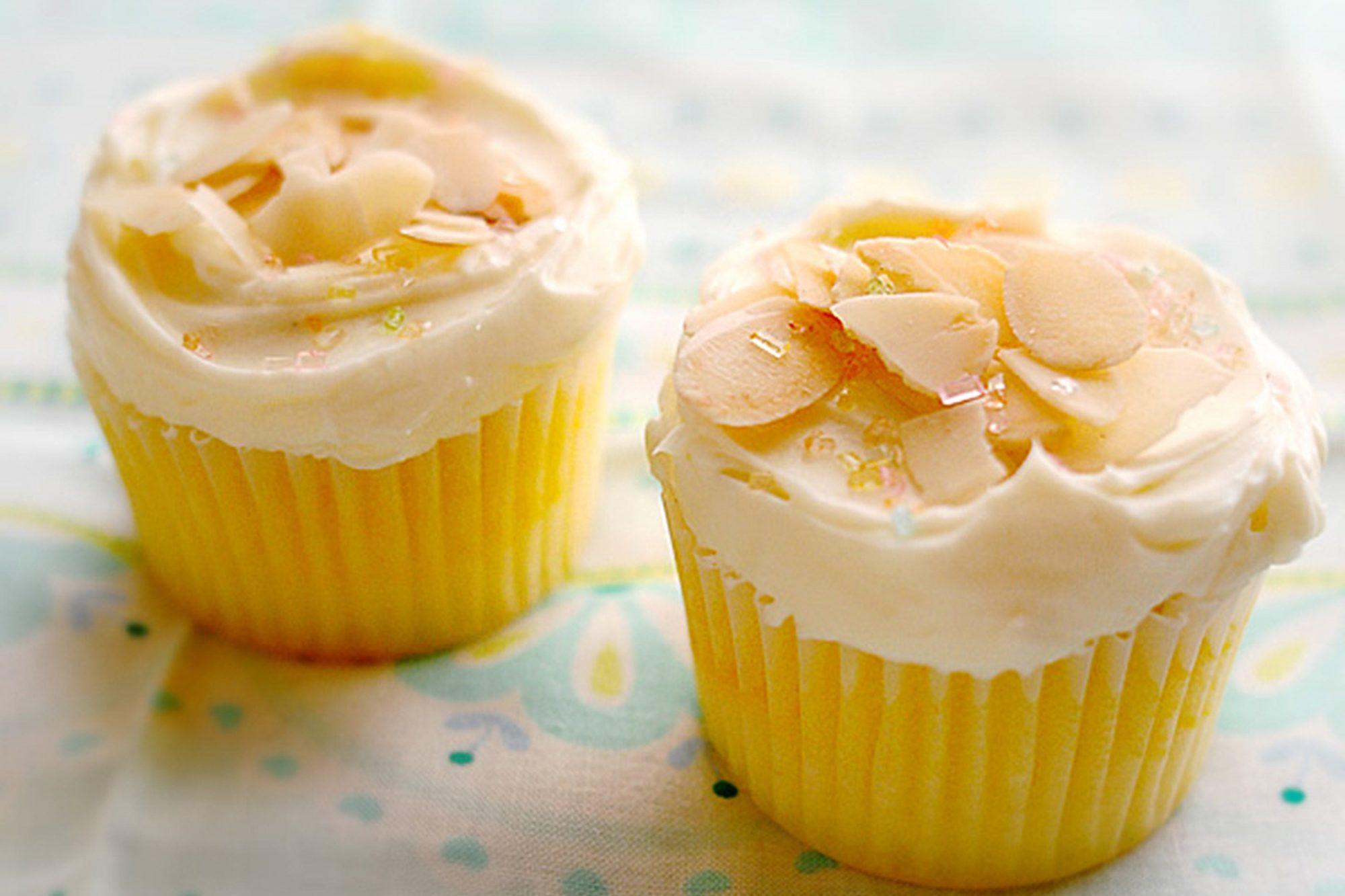 Lemon Cupcakes on paisley tablecloth