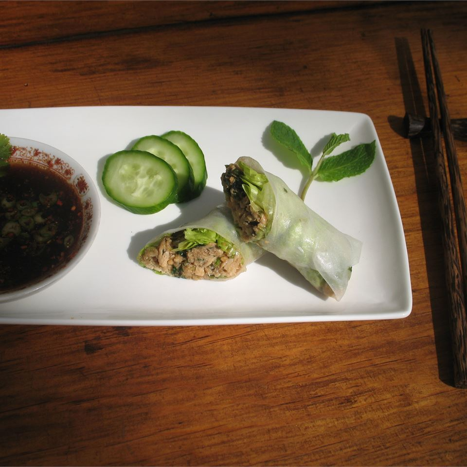 Lemon Grass and Chicken Summer Rolls with sauce and cucumbers on white plate