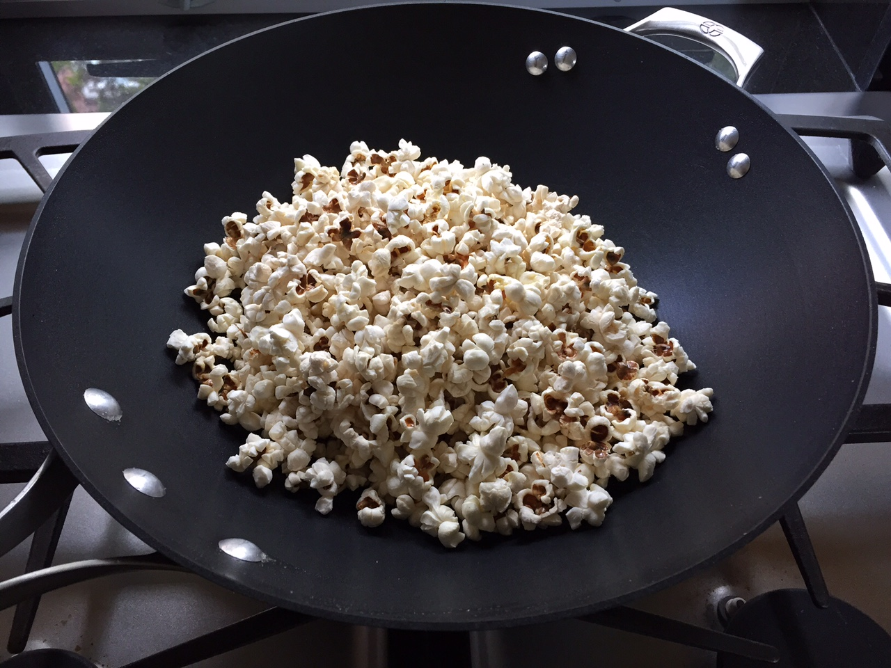 Popcorn made in a wok