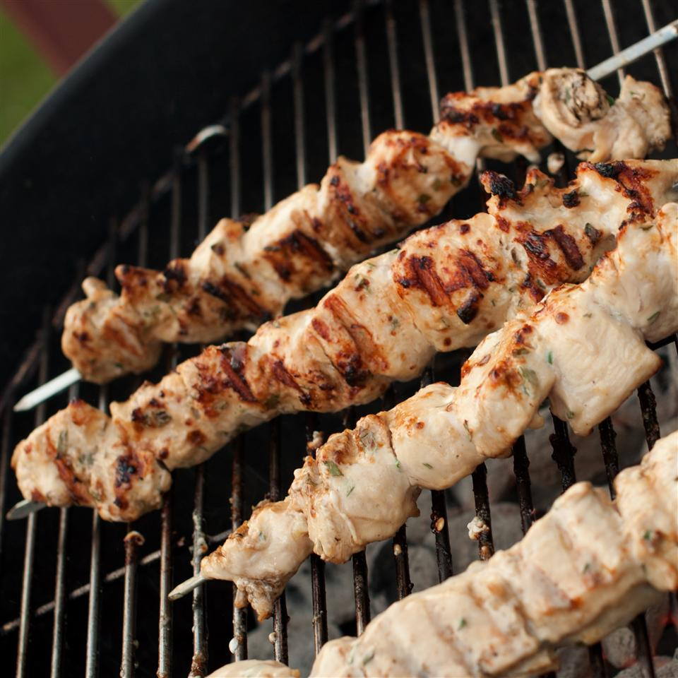 Rosemary Ranch Chicken Kabobs on grill
