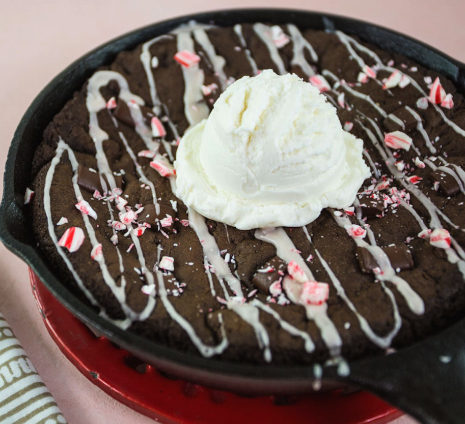 Chocolate-Peppermint Skillet Cookie