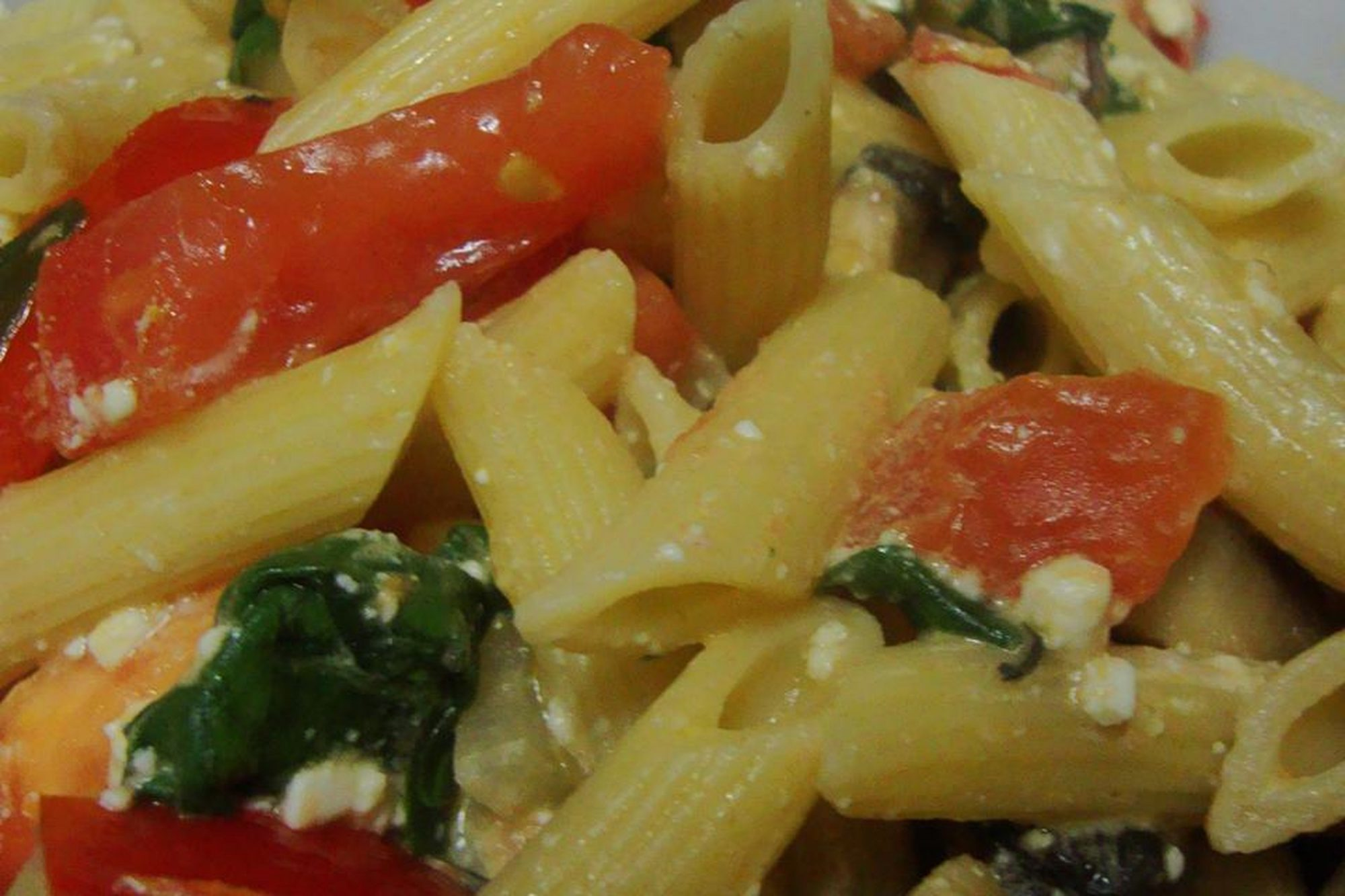 Spinach and Feta Pasta up-close