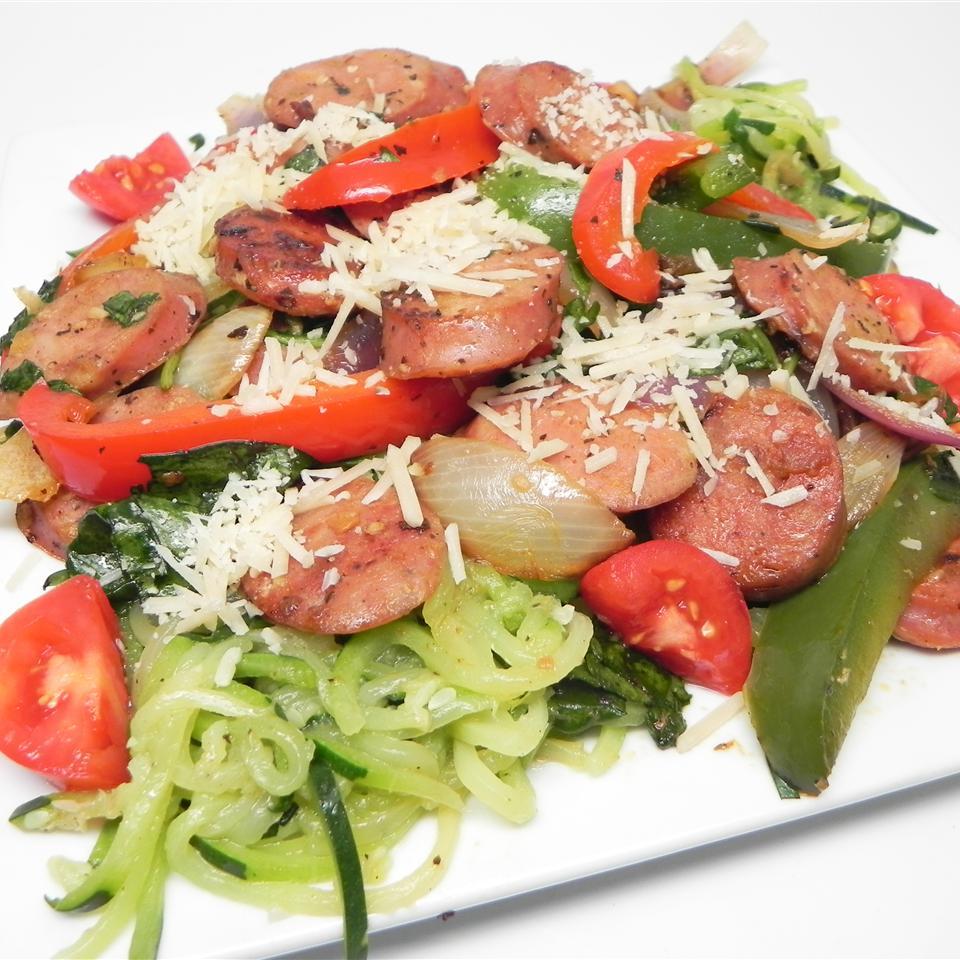 Zucchini Noodles and Summer Vegetables with Sweet Pepper Chicken Sausage