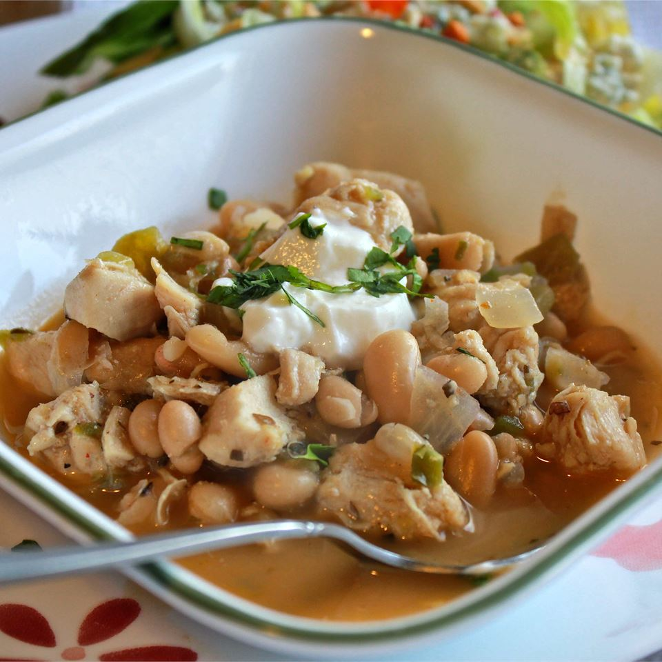 As written, this 5-star white bean chili comes in on the spicy side — cut back on the jalapeños or just use mild green chilis if you need to calm things down. Top with onions, sour cream cheese, cilantro, or whatever else you like on your chili.