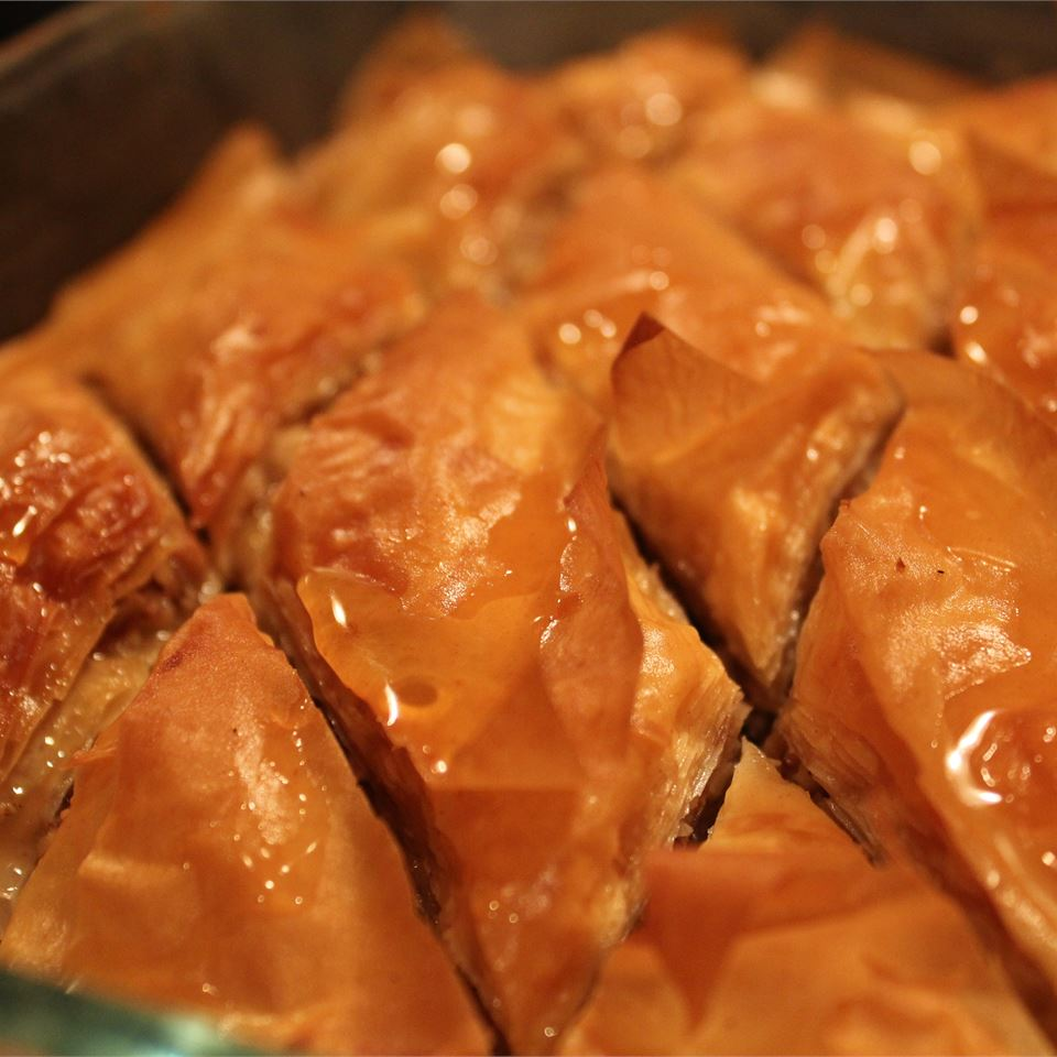 richly brown phyllo is cut into diamonds