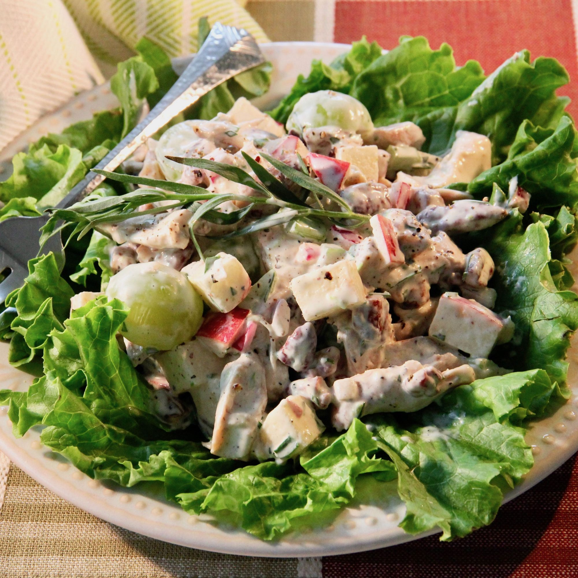 Fruity Chicken Salad with Tarragon served on a bed of lettuce