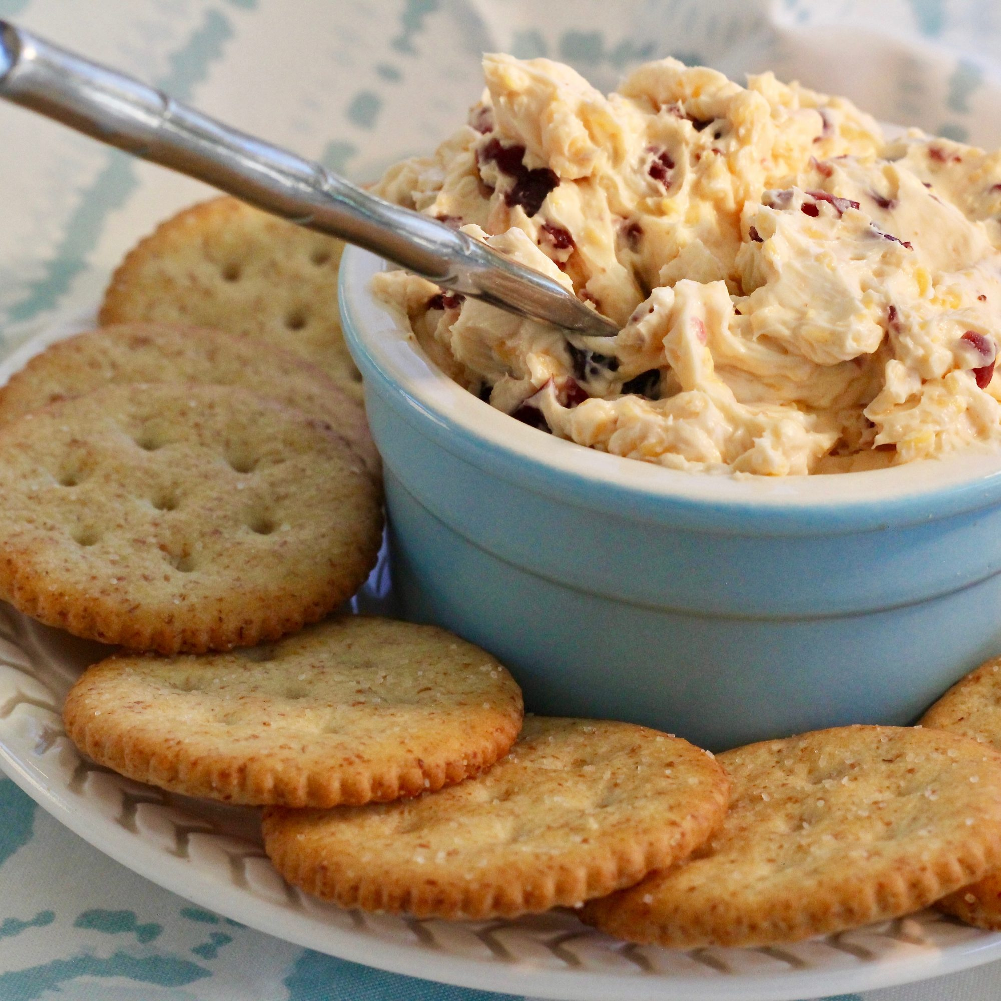 Cheddar and cranberry spread in a blue dish with crackers