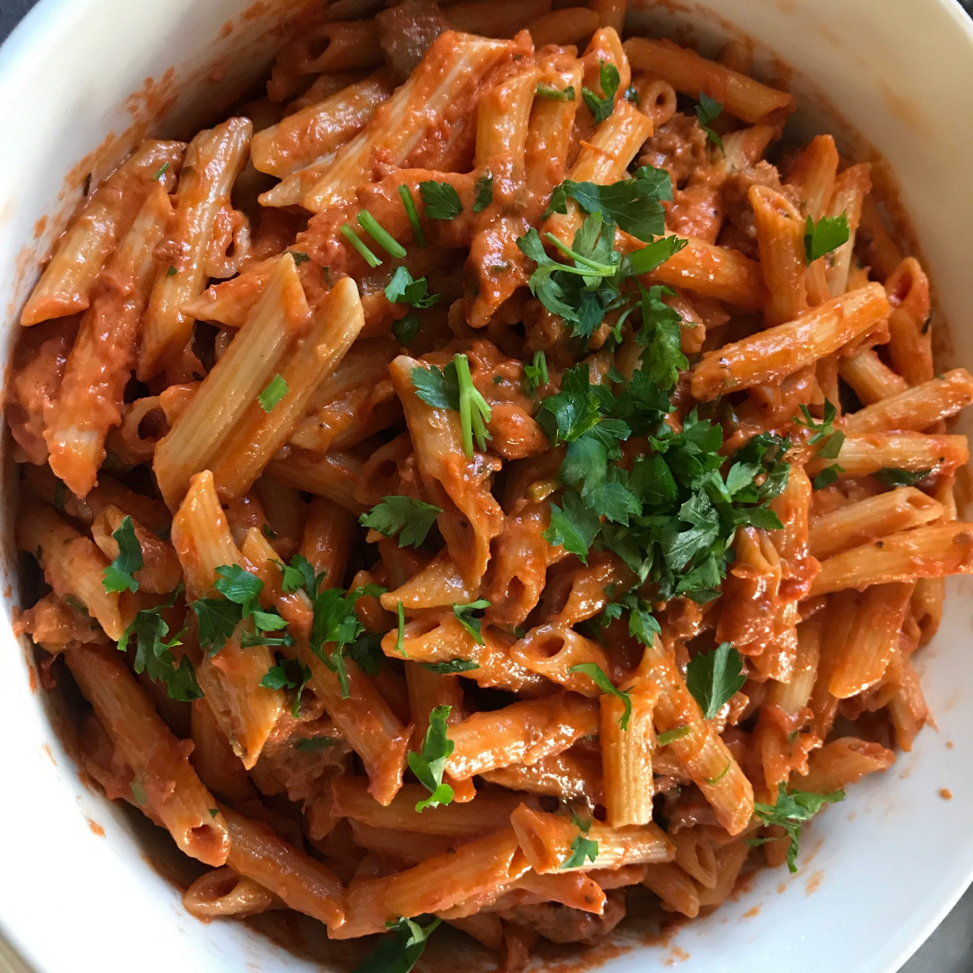 Penne with Spicy Vodka Tomato Cream Sauce