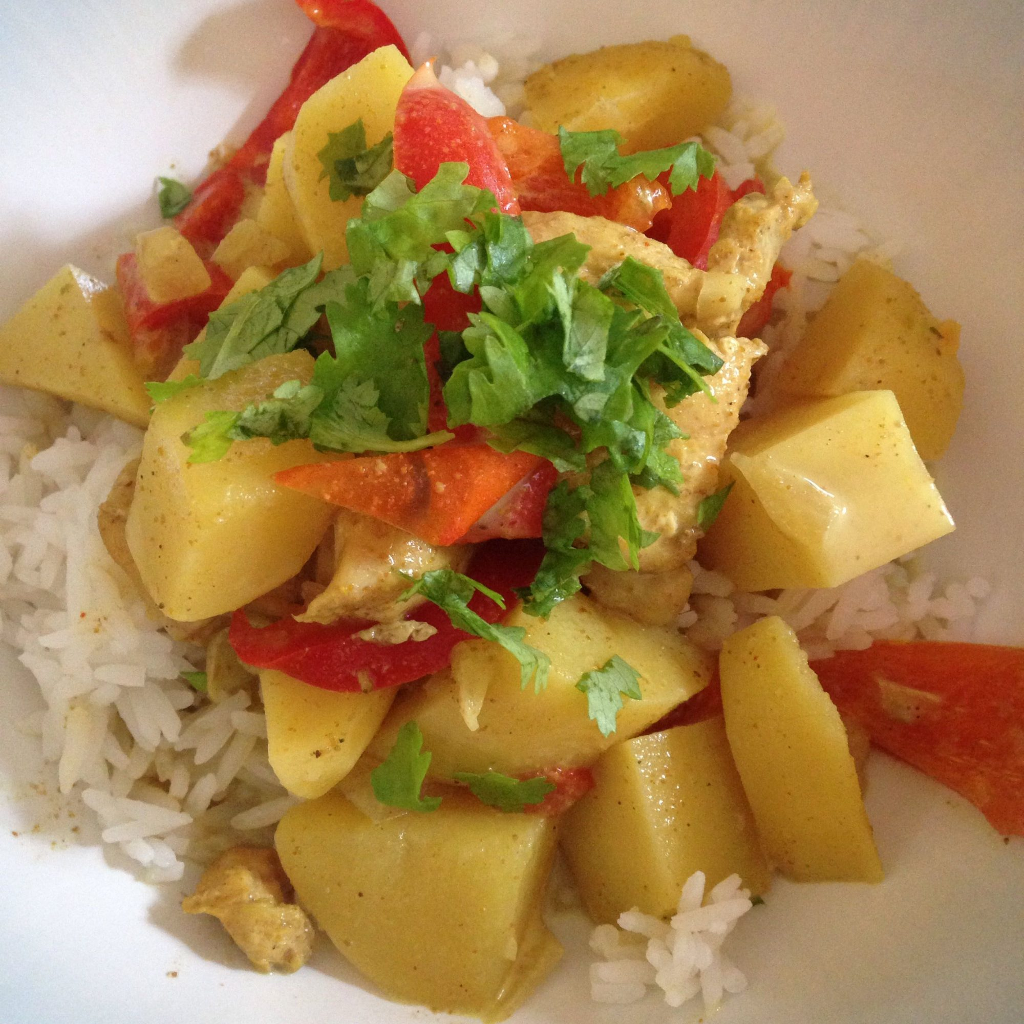 Easy Slow Cooker Chicken Curry with Potatoes and Coconut Milk served over rice