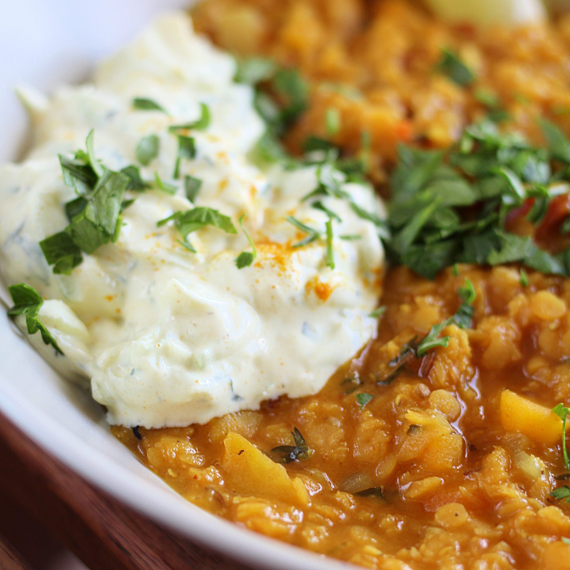 Red Lentil Dal with Yogurt Raita