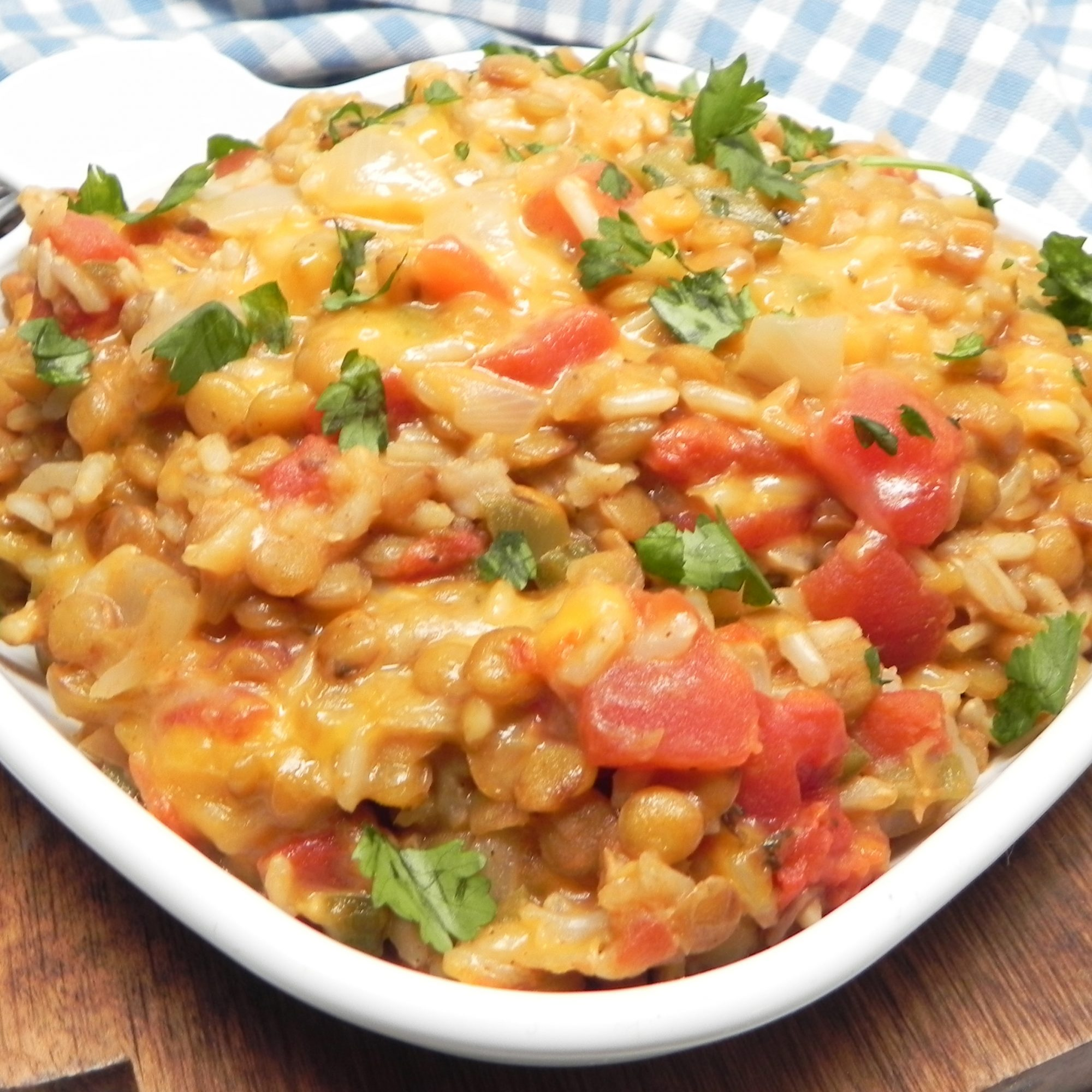 Instant Pot® Cheesy Mexican Lentils and Rice