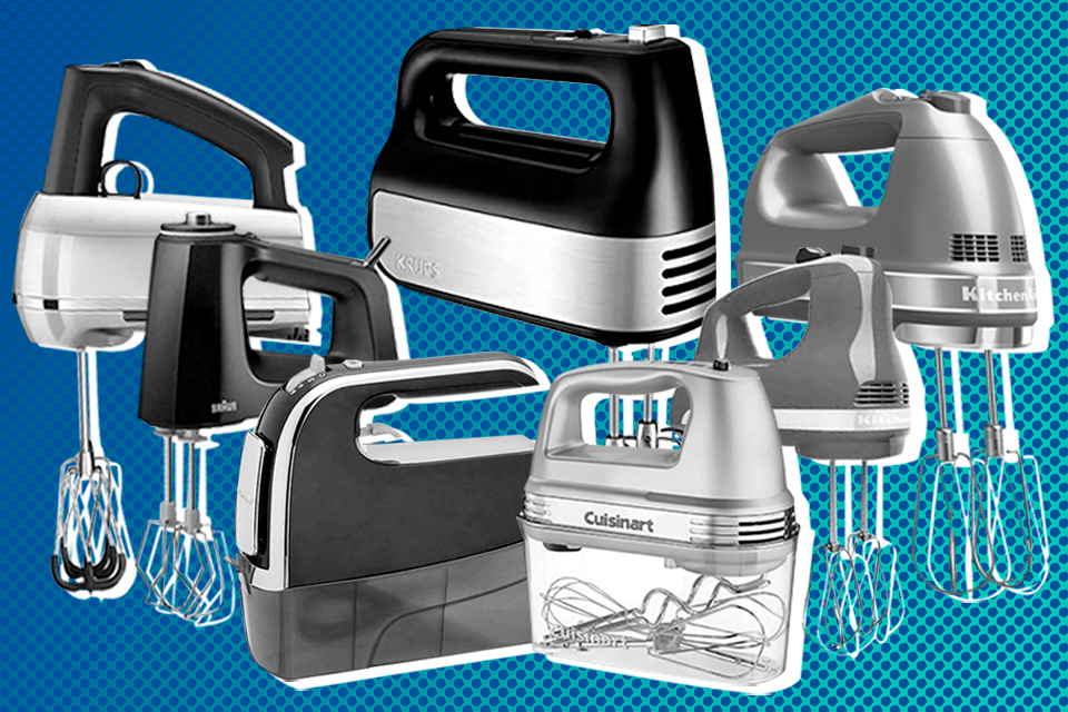 Hand mixers on blue dot background