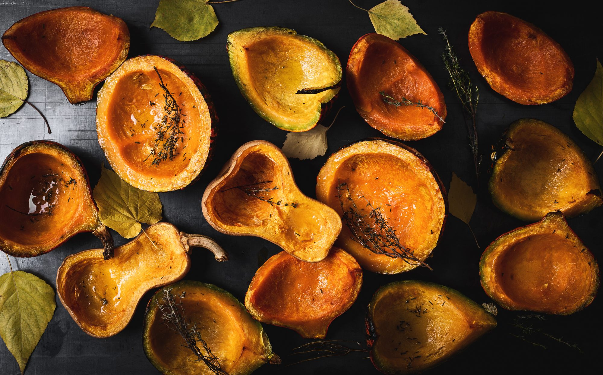 Roasted pumpkins, thyme and autumn leaves