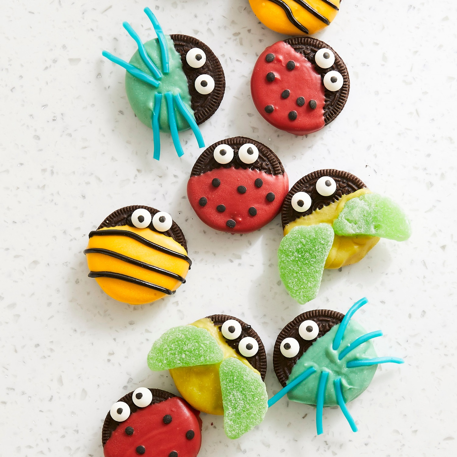 cookies decorated as cute bugs