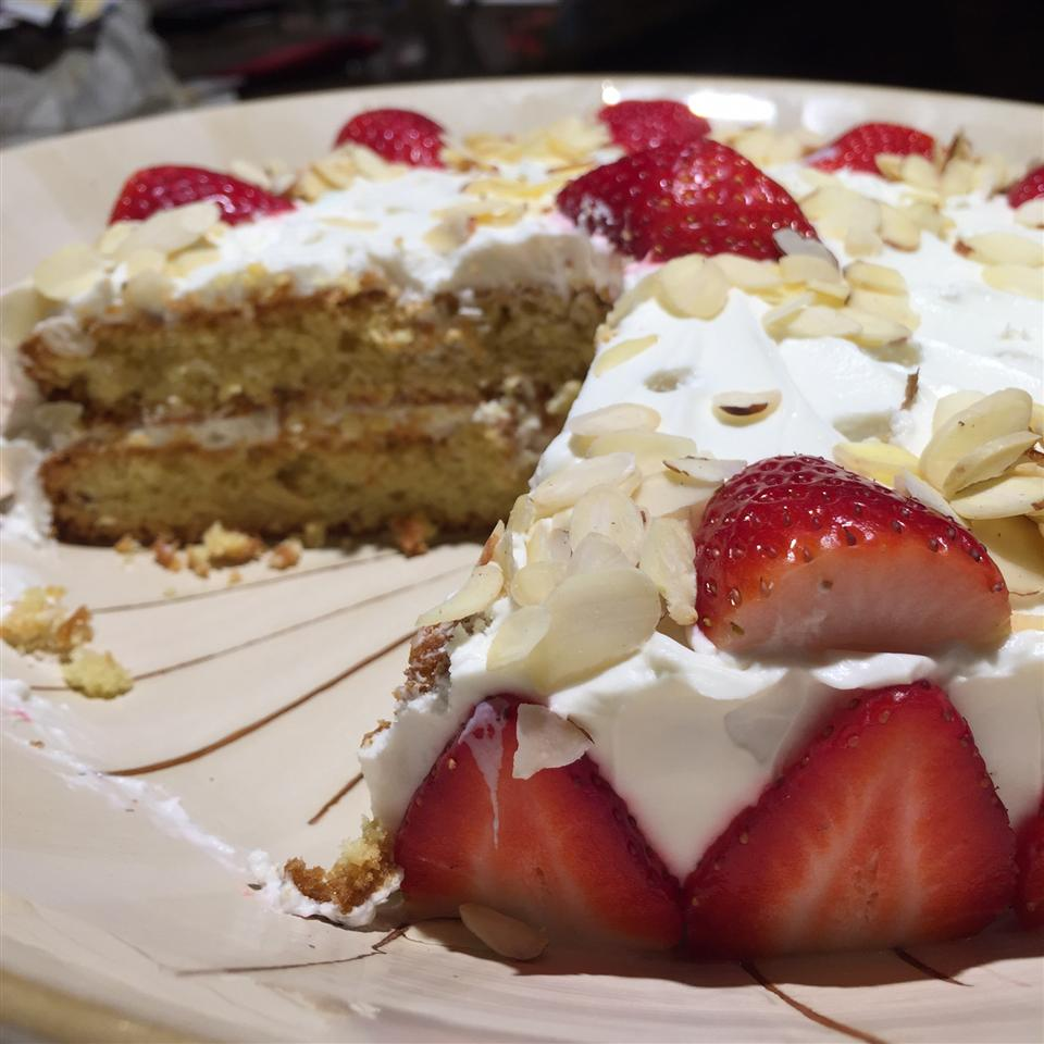 Hungarian Flourless Hazelnut Cake with strawberries and almonds