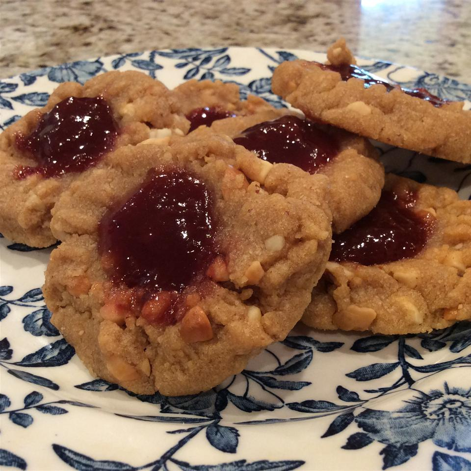 Uncle Mac's Peanut Butter and Jelly Cookies on blue floral plate