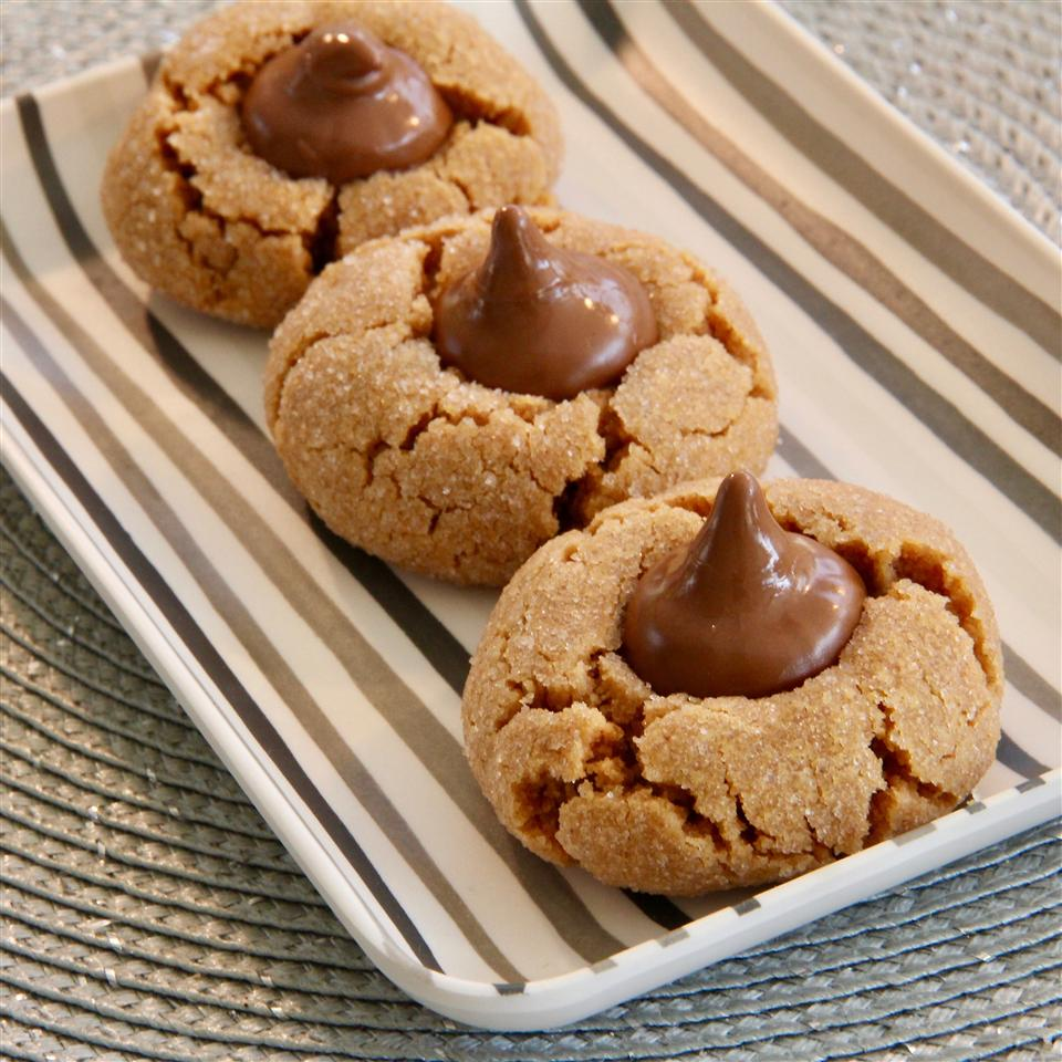 Peanut Butter Blossoms on striped tray