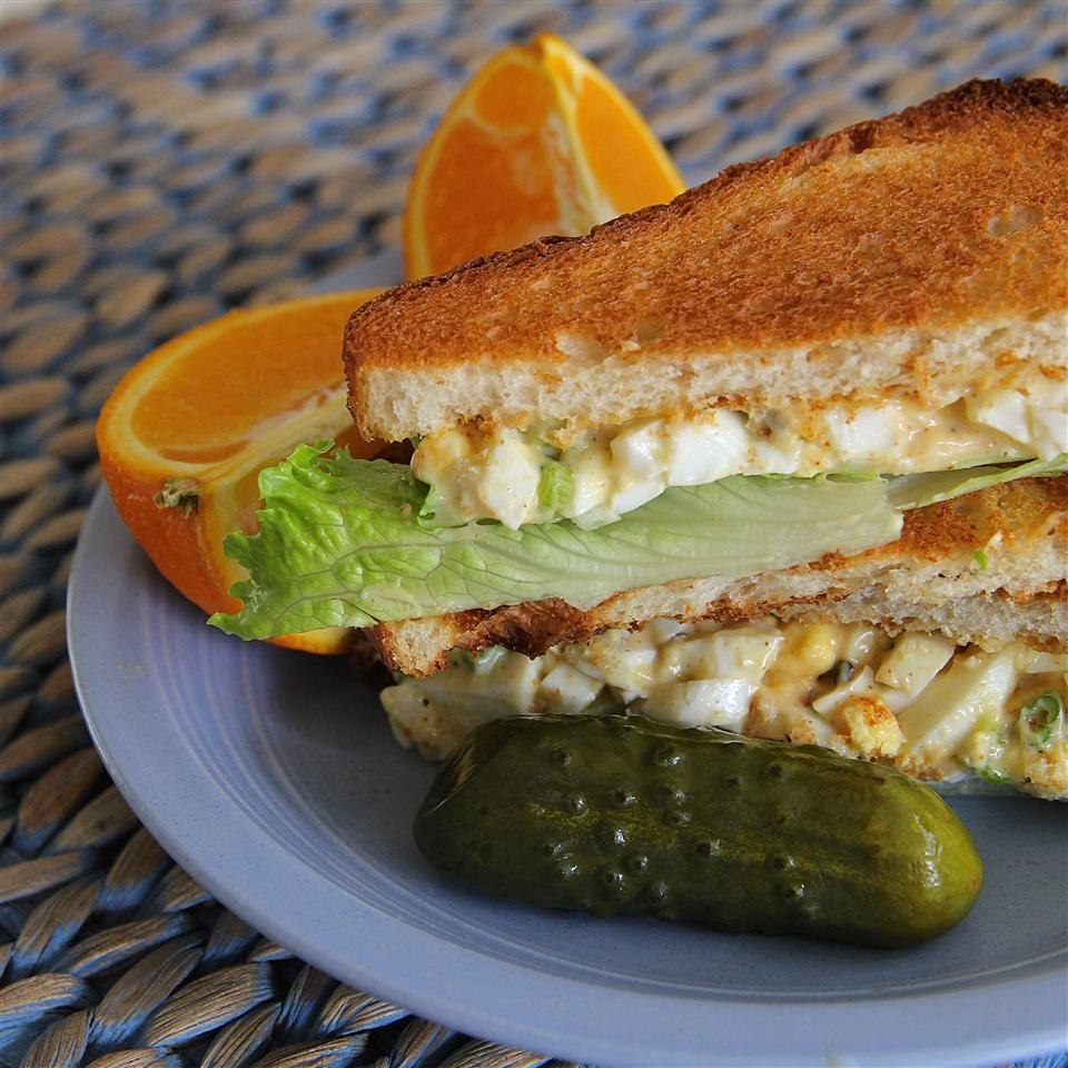 Deviled Egg Salad between slices of toast