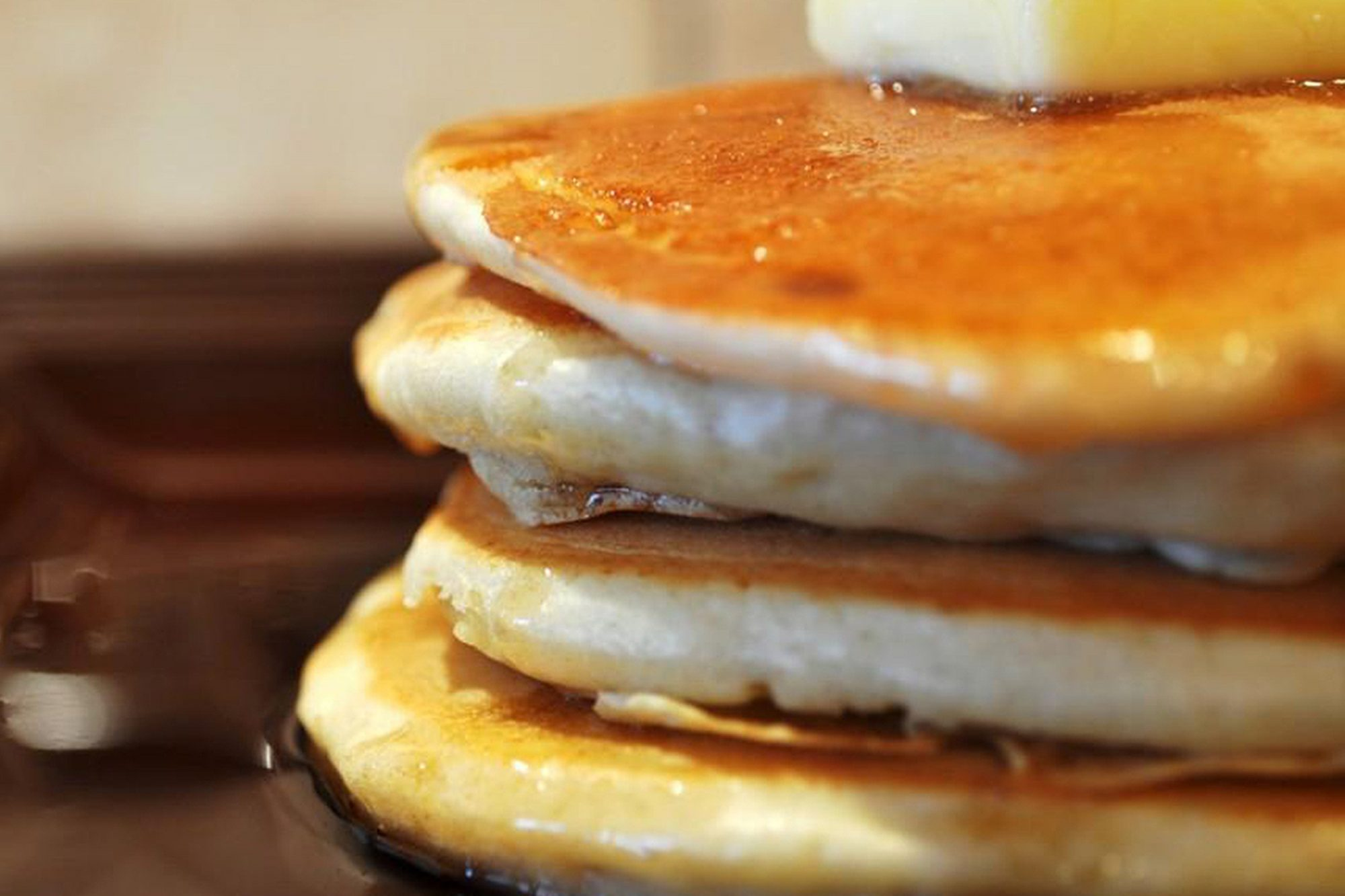 Fluffy pancakes stacked
