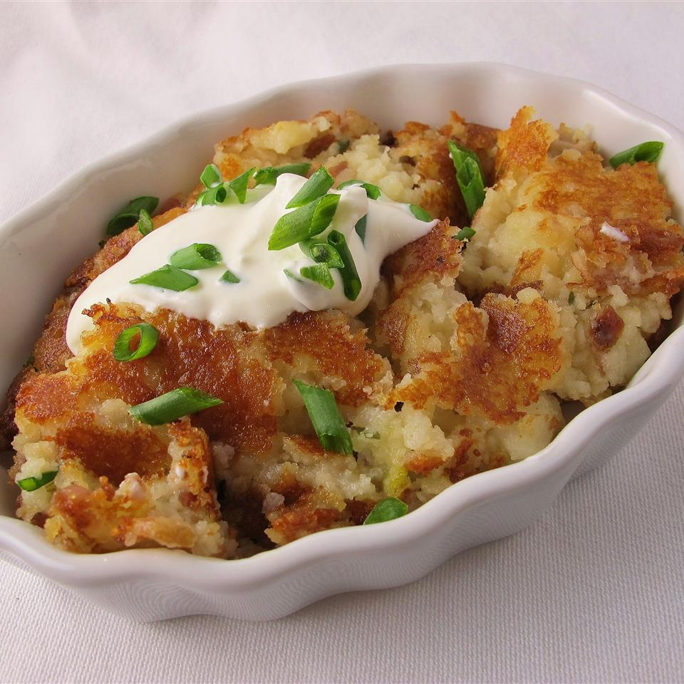 V's Fried Mashed Potatoes in a white dish