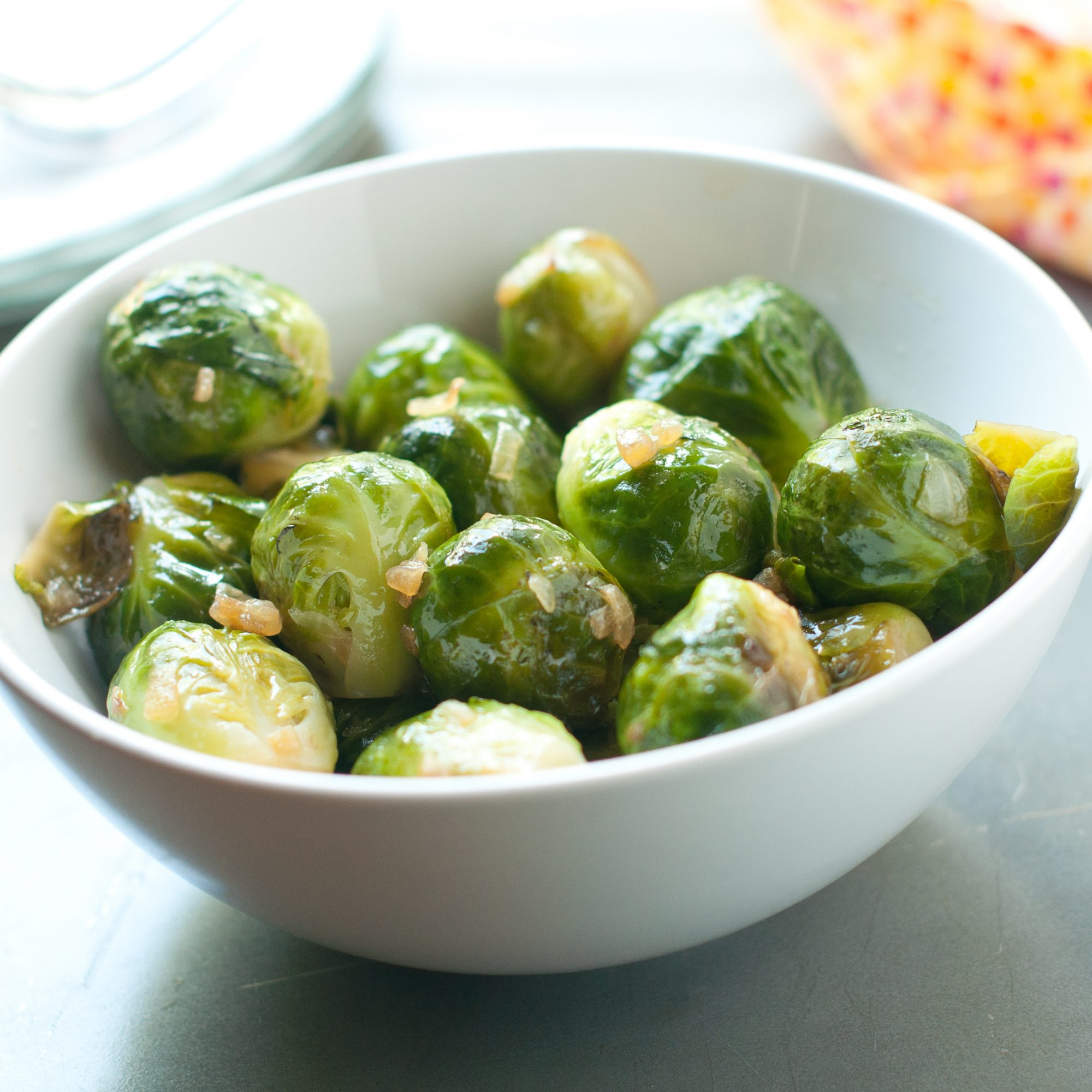 Brussels sprouts in white bowl