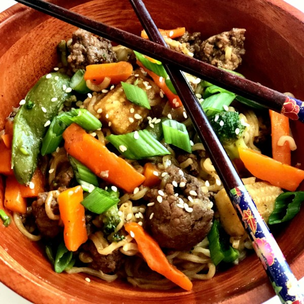 Asian Ground Beef Noodle Bowls