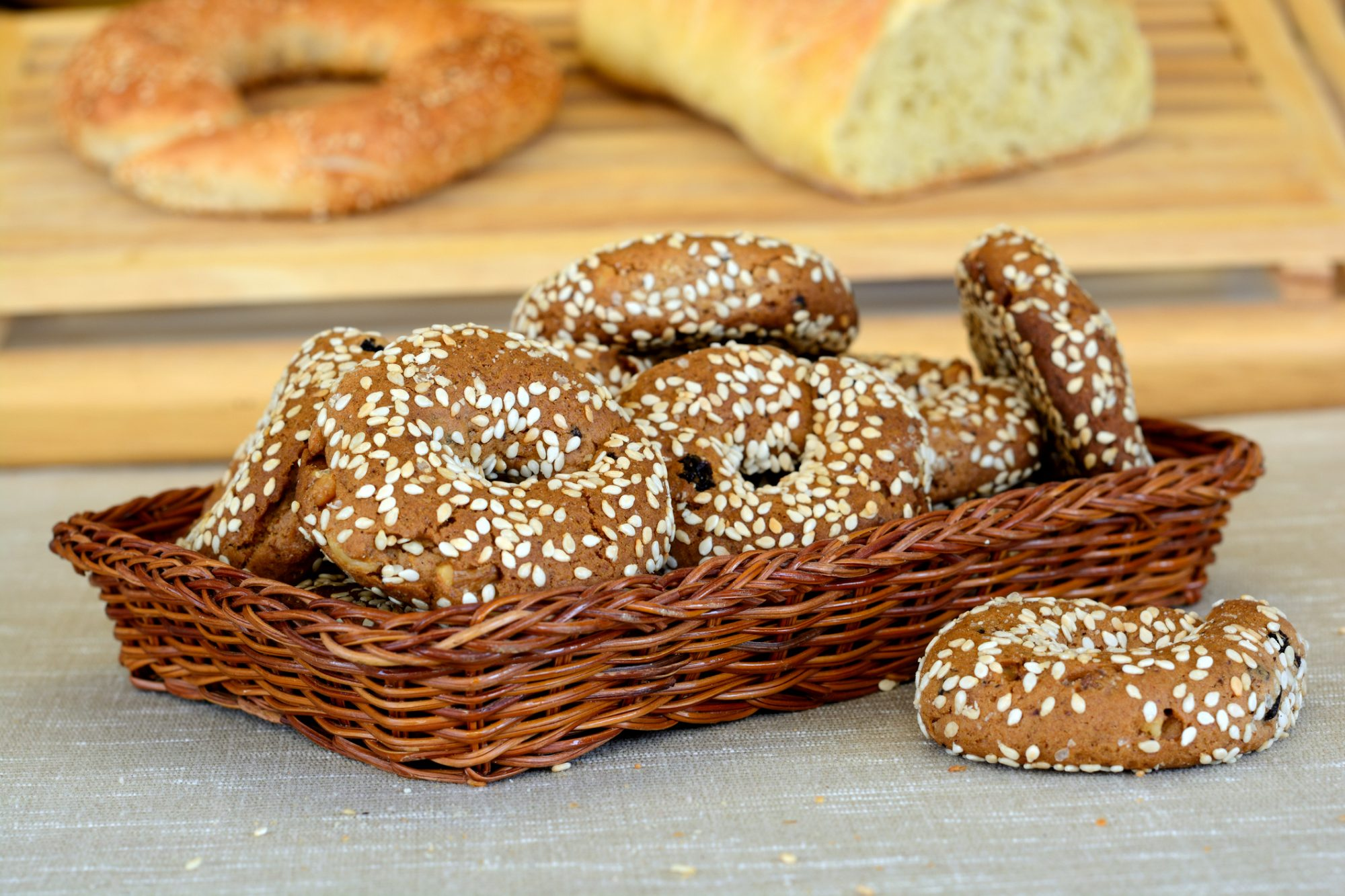 Grape juice flavored cookies ( Moustokouloura ) with raisins and sesame. Greek cuisine.related image