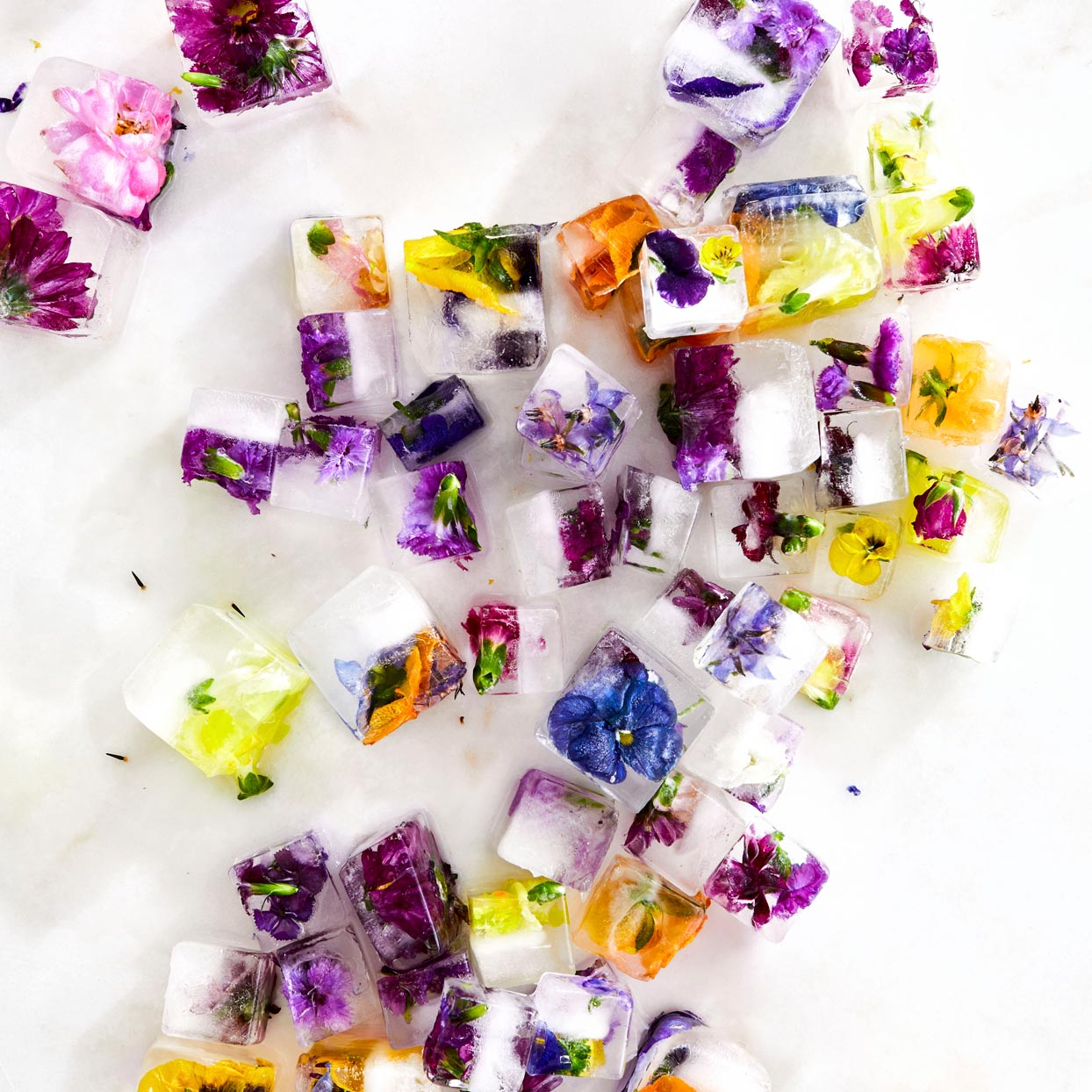 edible flowers in ice