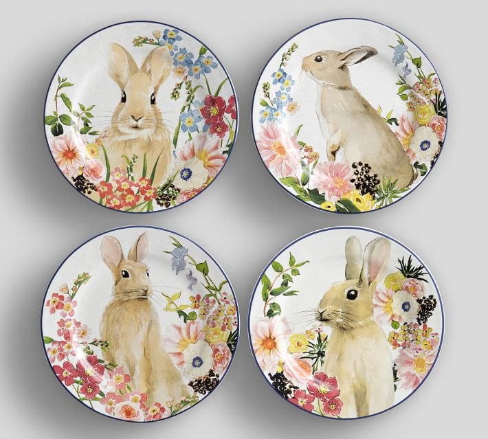 Floral Bunny Salad Plates