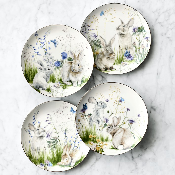 Floral Meadow Mixed Salad Plates - Set of 4