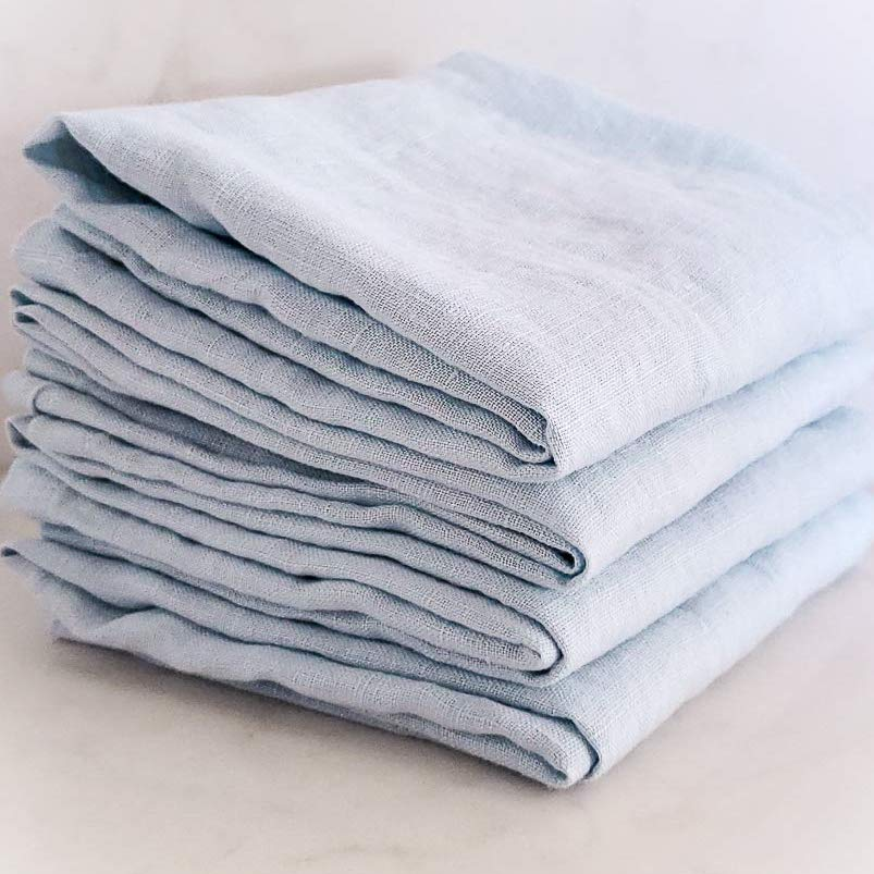 Blue Grey Pure Linen Table Napkins - Pack of 4