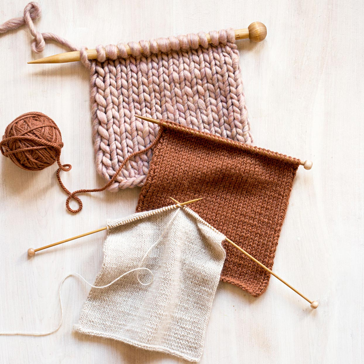 brown and white yarn