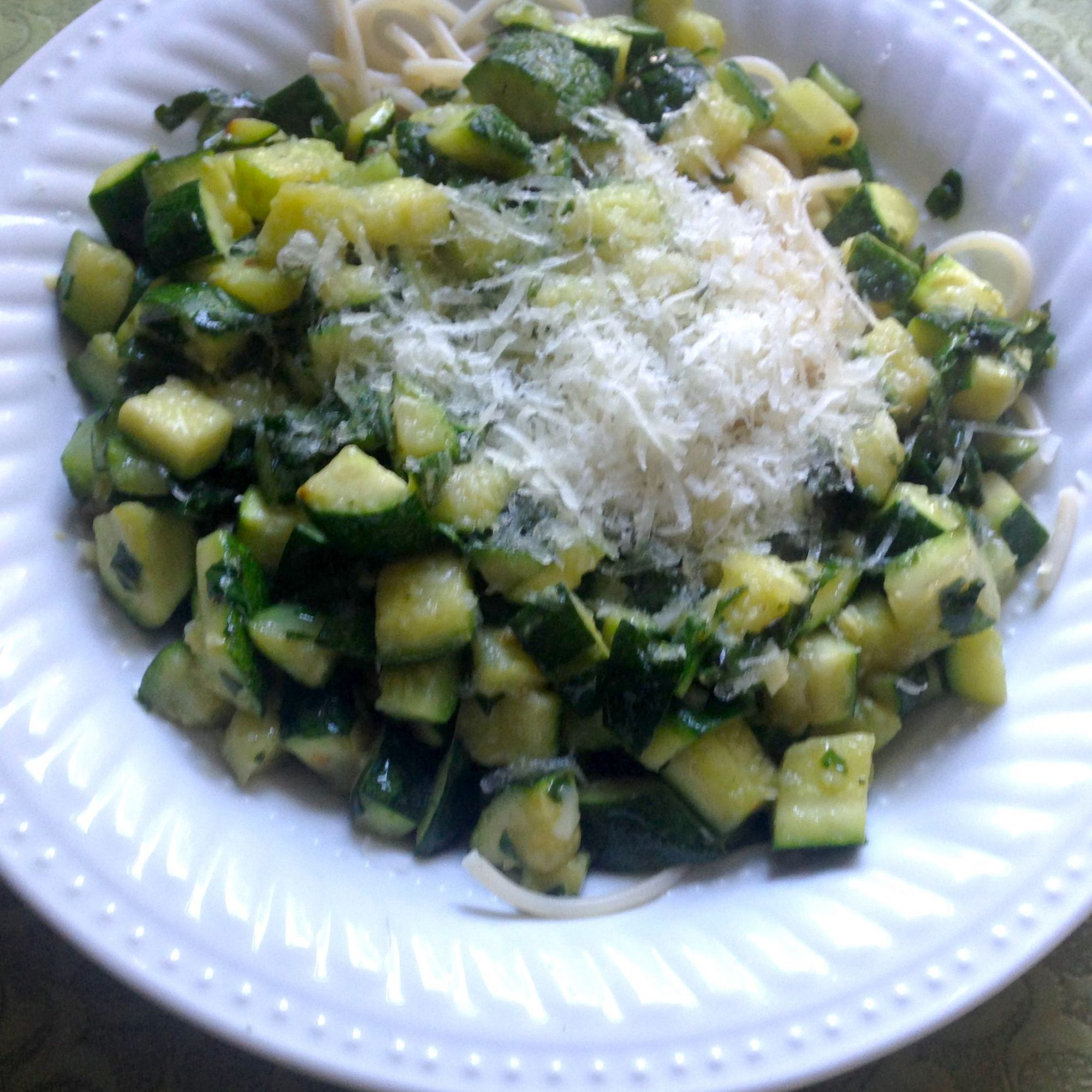 Quick Vegetarian Pasta with Zucchini and Yellow Squash
