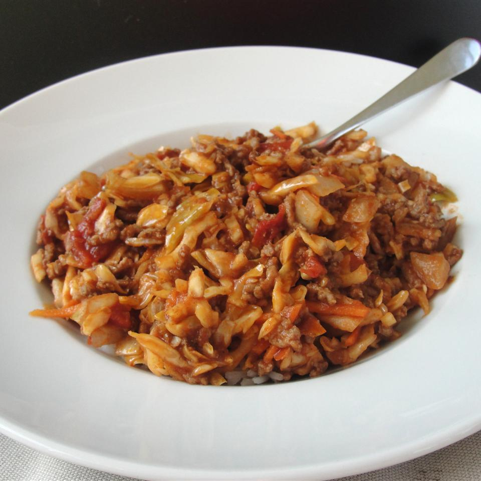 Spicy Unstuffed Cabbage in a white dish