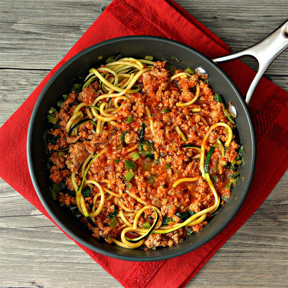 Turkey Spaghetti Zoodles in a skillet