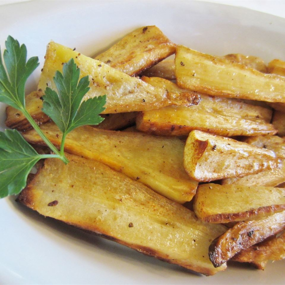 Grama's Peppery Parsnips in a white dish