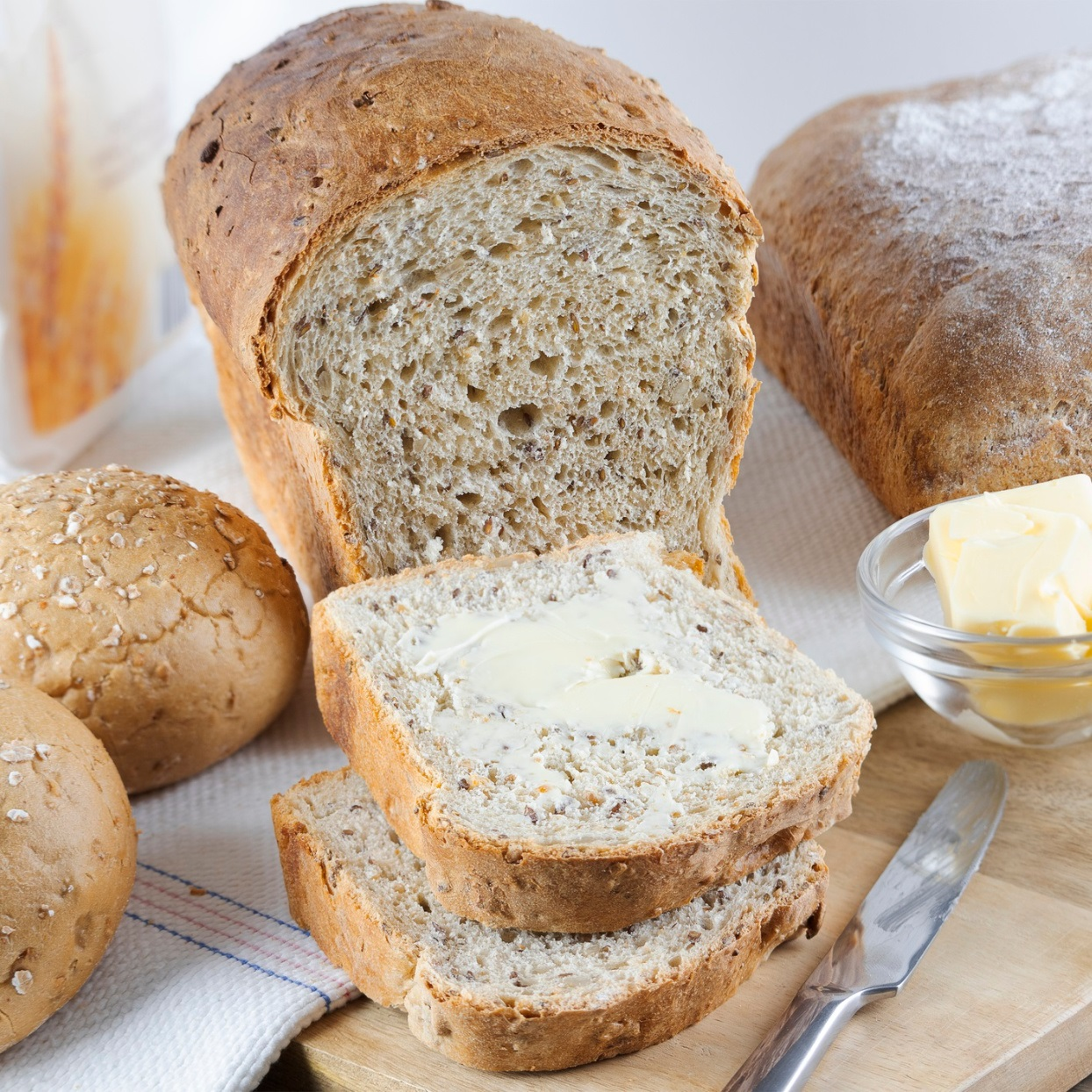 bread whole and sliced