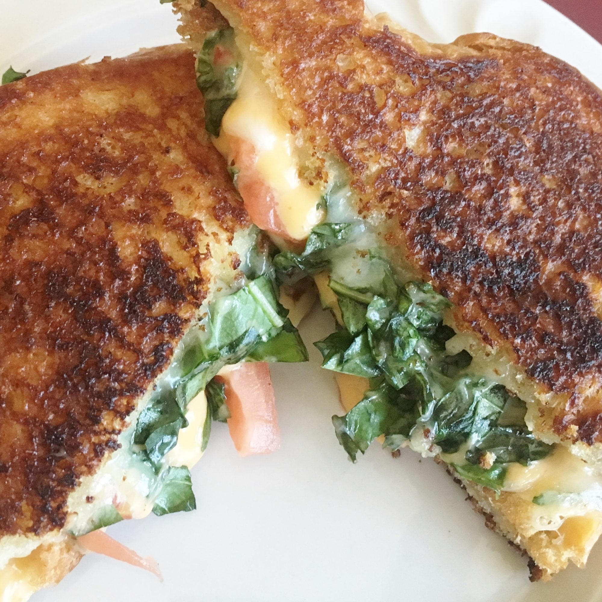 Three-Cheese and Basil Grilled Cheese Sandwich