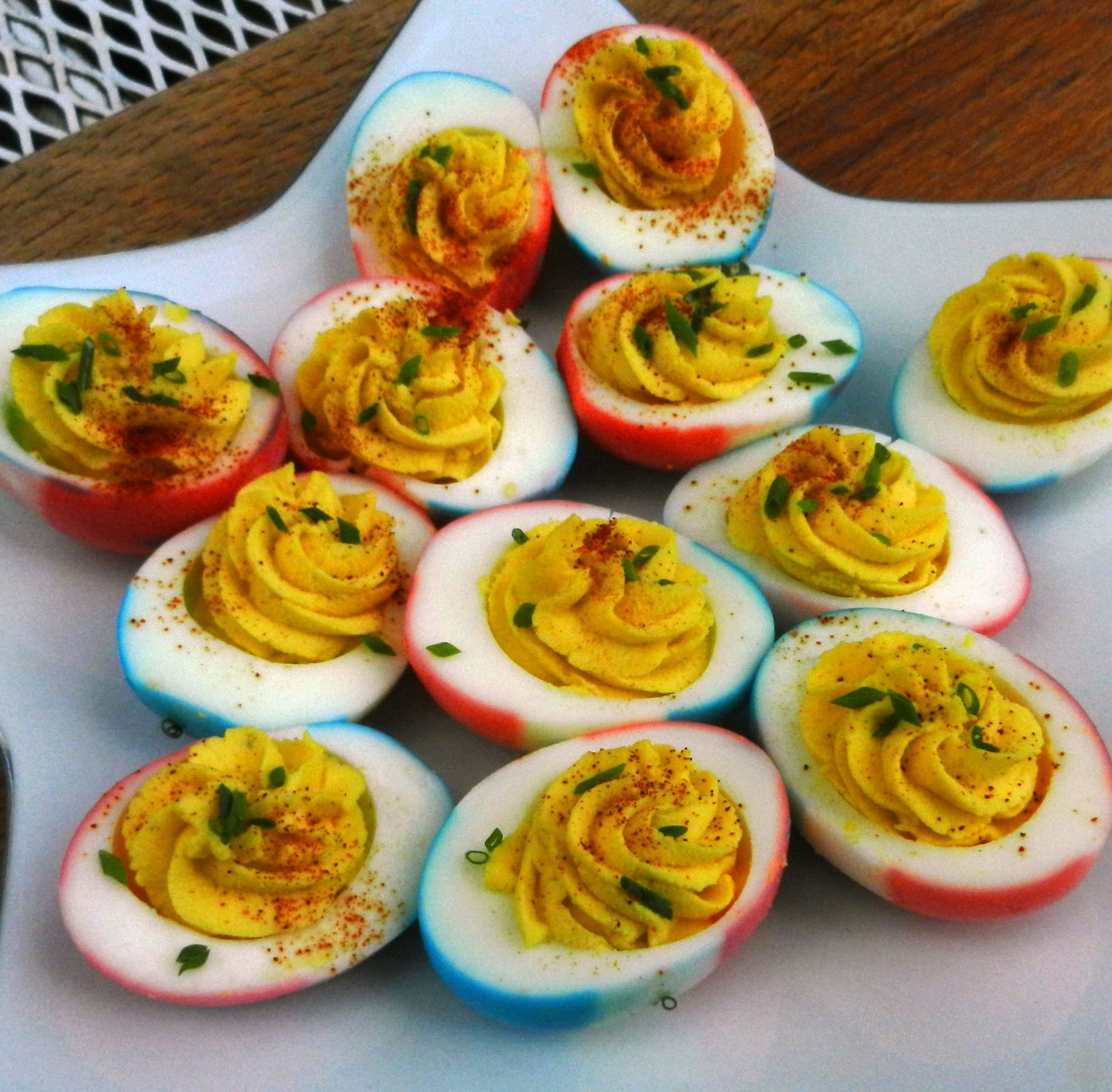 Red, White and Blue Deviled Eggs