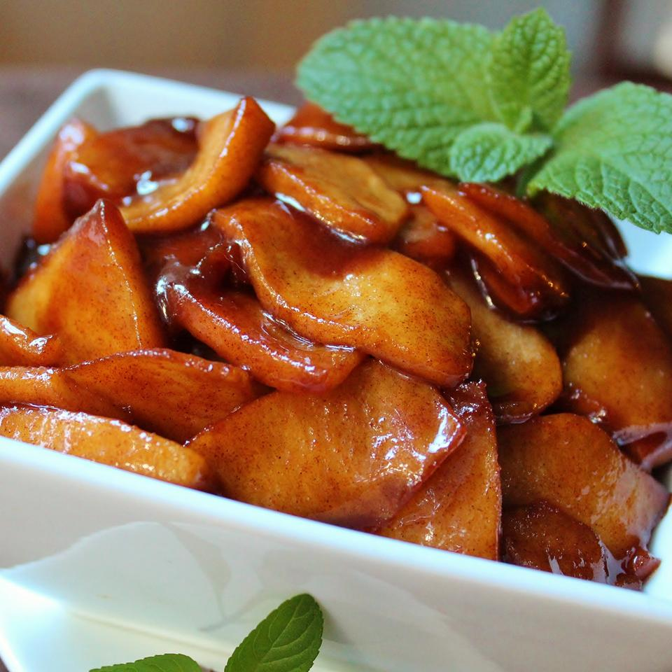 Southern Fried Apples in a white dish