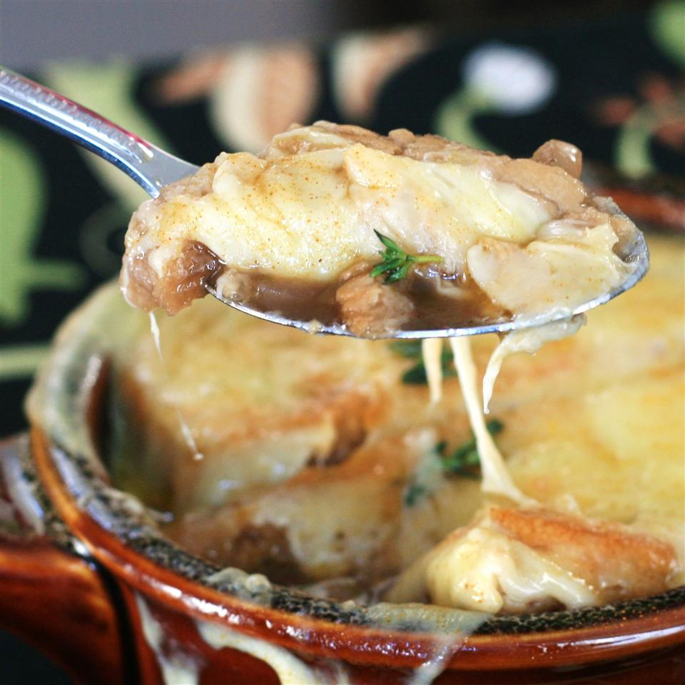 French Onion Soup Gratinee in a red bowl