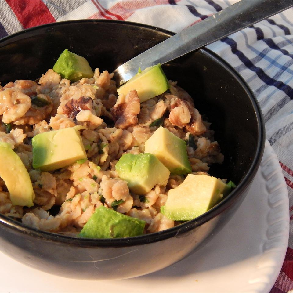 Miso Oatmeal Bowl with avocado and spinach